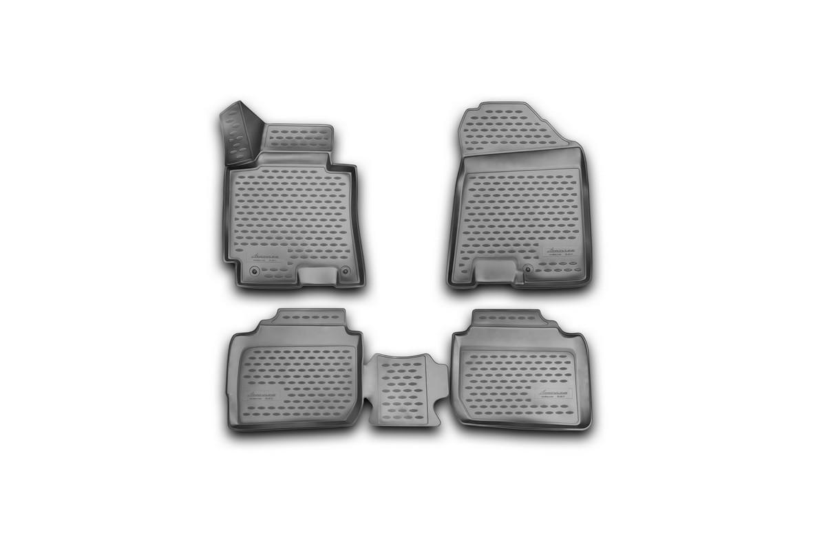 Набор автомобильных 3D-ковриков Novline-Autofamily для Kia Cerato, 2013->, в салон, 4 штАксион Т-33Набор Novline-Autofamily состоит из 4 ковриков, изготовленных из полиуретана.Основная функция ковров - защита салона автомобиля от загрязнения и влаги. Это достигается за счет высоких бортов, перемычки на тоннель заднего ряда сидений, элементов формы и текстуры, свойств материала, а также запатентованной технологией 3D-перемычки в зоне отдыха ноги водителя, что обеспечивает дополнительную защиту, сохраняя салон автомобиля в первозданном виде.Материал, из которого сделаны коврики, обладает антискользящими свойствами. Для фиксации ковров в салоне автомобиля в комплекте с ними используются специальные крепежи. Форма передней части водительского ковра, уходящая под педаль акселератора, исключает нештатное заедание педалей.Набор подходит для Kia Cerato с 2013 года выпуска.