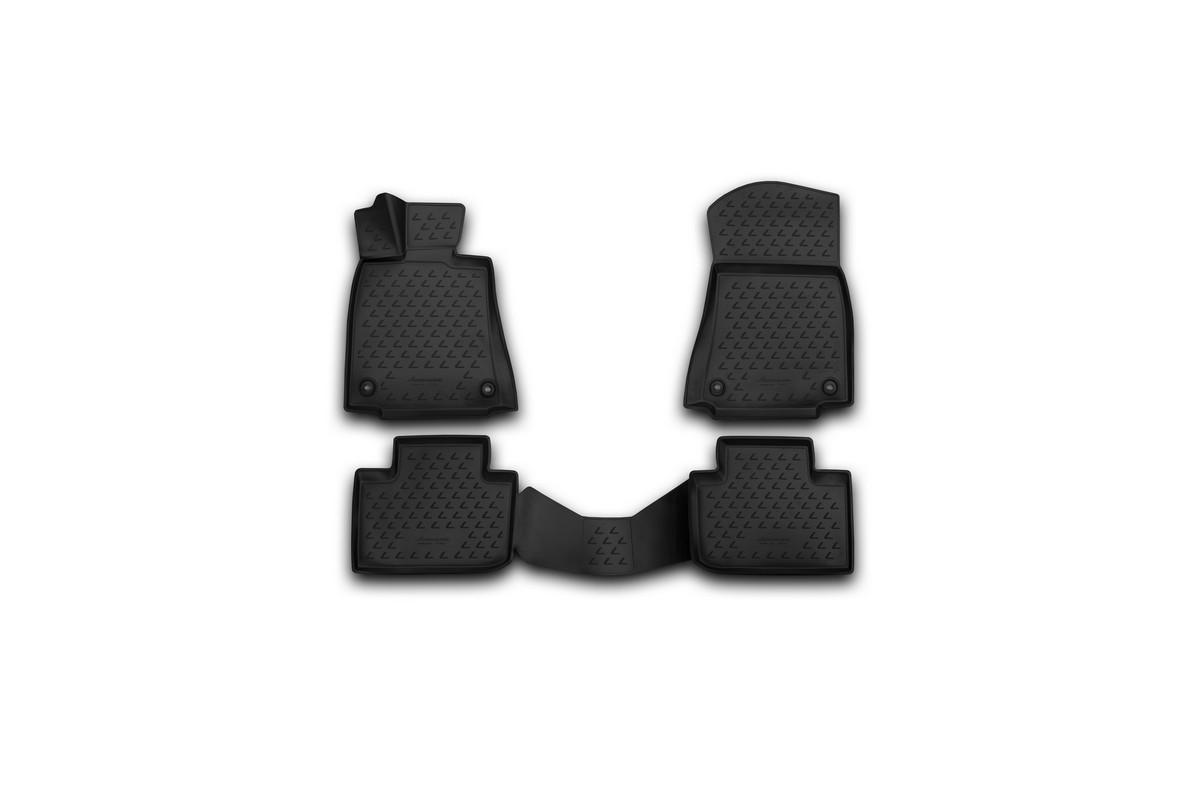 Набор автомобильных 3D-ковриков Novline-Autofamily для Lexus IS250, 2013->, в салон, 4 штАксион Т-33Набор Novline-Autofamily состоит из 4 ковриков, изготовленных из полиуретана.Основная функция ковров - защита салона автомобиля от загрязнения и влаги. Это достигается за счет высоких бортов, перемычки на тоннель заднего ряда сидений, элементов формы и текстуры, свойств материала, а также запатентованной технологией 3D-перемычки в зоне отдыха ноги водителя, что обеспечивает дополнительную защиту, сохраняя салон автомобиля в первозданном виде.Материал, из которого сделаны коврики, обладает антискользящими свойствами. Для фиксации ковров в салоне автомобиля в комплекте с ними используются специальные крепежи. Форма передней части водительского ковра, уходящая под педаль акселератора, исключает нештатное заедание педалей.Набор подходит для Lexus IS250 с 2013 года выпуска.