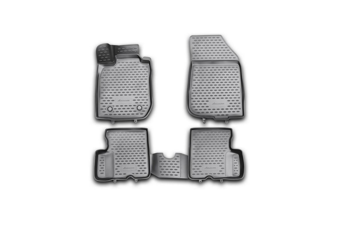 Набор автомобильных 3D-ковриков Novline-Autofamily для Renault Duster, 2011-2015, в салон, 4 штВетерок 2ГФНабор Novline-Autofamily состоит из 4 ковриков, изготовленных из полиуретана.Основная функция ковров - защита салона автомобиля от загрязнения и влаги. Это достигается за счет высоких бортов, перемычки на тоннель заднего ряда сидений, элементов формы и текстуры, свойств материала, а также запатентованной технологией 3D-перемычки в зоне отдыха ноги водителя, что обеспечивает дополнительную защиту, сохраняя салон автомобиля в первозданном виде.Материал, из которого сделаны коврики, обладает антискользящими свойствами. Для фиксации ковров в салоне автомобиля в комплекте с ними используются специальные крепежи. Форма передней части водительского ковра, уходящая под педаль акселератора, исключает нештатное заедание педалей.Набор подходит для Renault Duster 2011-2015 года выпуска.