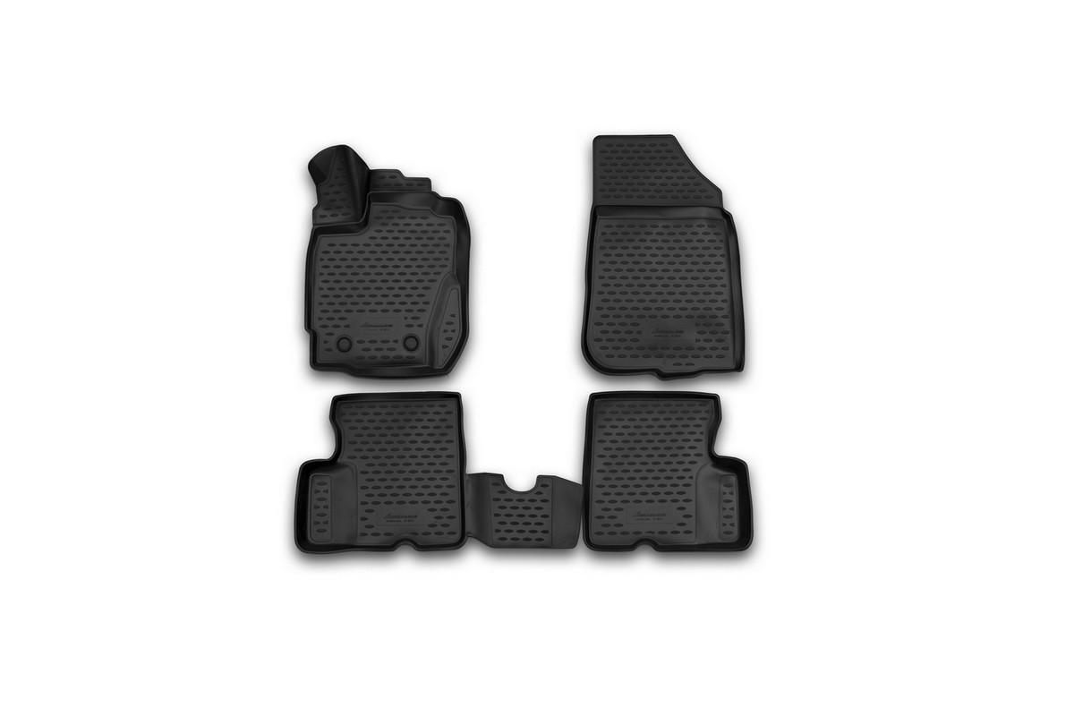 Набор автомобильных 3D-ковриков Novline-Autofamily для Renault Duster, 2015->, в салон, 4 штNLED-420-1.5W-RНабор Novline-Autofamily состоит из 4 ковриков, изготовленных из полиуретана.Основная функция ковров - защита салона автомобиля от загрязнения и влаги. Это достигается за счет высоких бортов, перемычки на тоннель заднего ряда сидений, элементов формы и текстуры, свойств материала, а также запатентованной технологией 3D-перемычки в зоне отдыха ноги водителя, что обеспечивает дополнительную защиту, сохраняя салон автомобиля в первозданном виде.Материал, из которого сделаны коврики, обладает антискользящими свойствами. Для фиксации ковров в салоне автомобиля в комплекте с ними используются специальные крепежи. Форма передней части водительского ковра, уходящая под педаль акселератора, исключает нештатное заедание педалей.Набор подходит для Renault Duster с 2015 года выпуска.