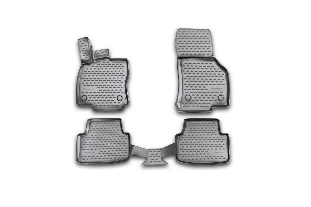 Набор автомобильных 3D-ковриков Novline-Autofamily для Skoda Octavia, 2013->, в салон, 4 штВетерок 2ГФНабор Novline-Autofamily состоит из 4 ковриков, изготовленных из полиуретана.Основная функция ковров - защита салона автомобиля от загрязнения и влаги. Это достигается за счет высоких бортов, перемычки на тоннель заднего ряда сидений, элементов формы и текстуры, свойств материала, а также запатентованной технологией 3D-перемычки в зоне отдыха ноги водителя, что обеспечивает дополнительную защиту, сохраняя салон автомобиля в первозданном виде.Материал, из которого сделаны коврики, обладает антискользящими свойствами. Для фиксации ковров в салоне автомобиля в комплекте с ними используются специальные крепежи. Форма передней части водительского ковра, уходящая под педаль акселератора, исключает нештатное заедание педалей.Набор подходит для Skoda Octavia с 2013 года выпуска.