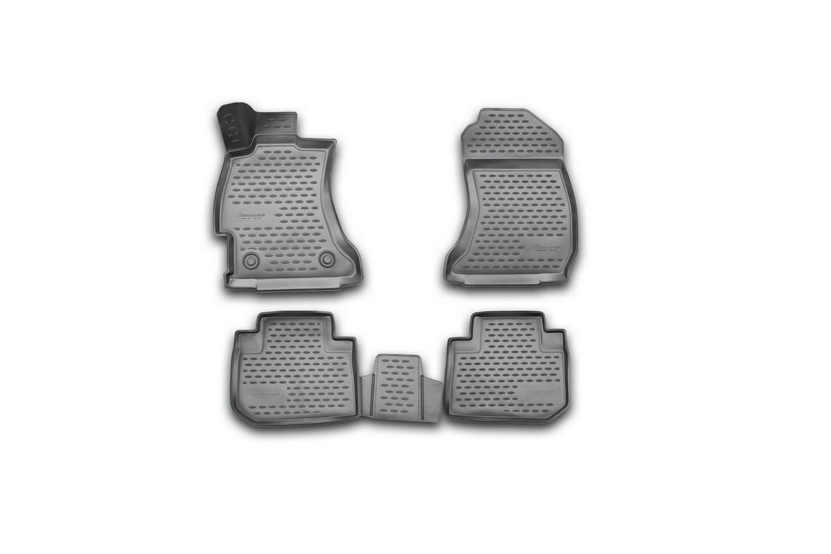Набор автомобильных 3D-ковриков Novline-Autofamily для Subaru Forester, 2013->, в салон, 4 штF520250E1Набор Novline-Autofamily состоит из 4 ковриков, изготовленных из полиуретана.Основная функция ковров - защита салона автомобиля от загрязнения и влаги. Это достигается за счет высоких бортов, перемычки на тоннель заднего ряда сидений, элементов формы и текстуры, свойств материала, а также запатентованной технологией 3D-перемычки в зоне отдыха ноги водителя, что обеспечивает дополнительную защиту, сохраняя салон автомобиля в первозданном виде.Материал, из которого сделаны коврики, обладает антискользящими свойствами. Для фиксации ковров в салоне автомобиля в комплекте с ними используются специальные крепежи. Форма передней части водительского ковра, уходящая под педаль акселератора, исключает нештатное заедание педалей.Набор подходит для Subaru Forester с 2013 года выпуска.