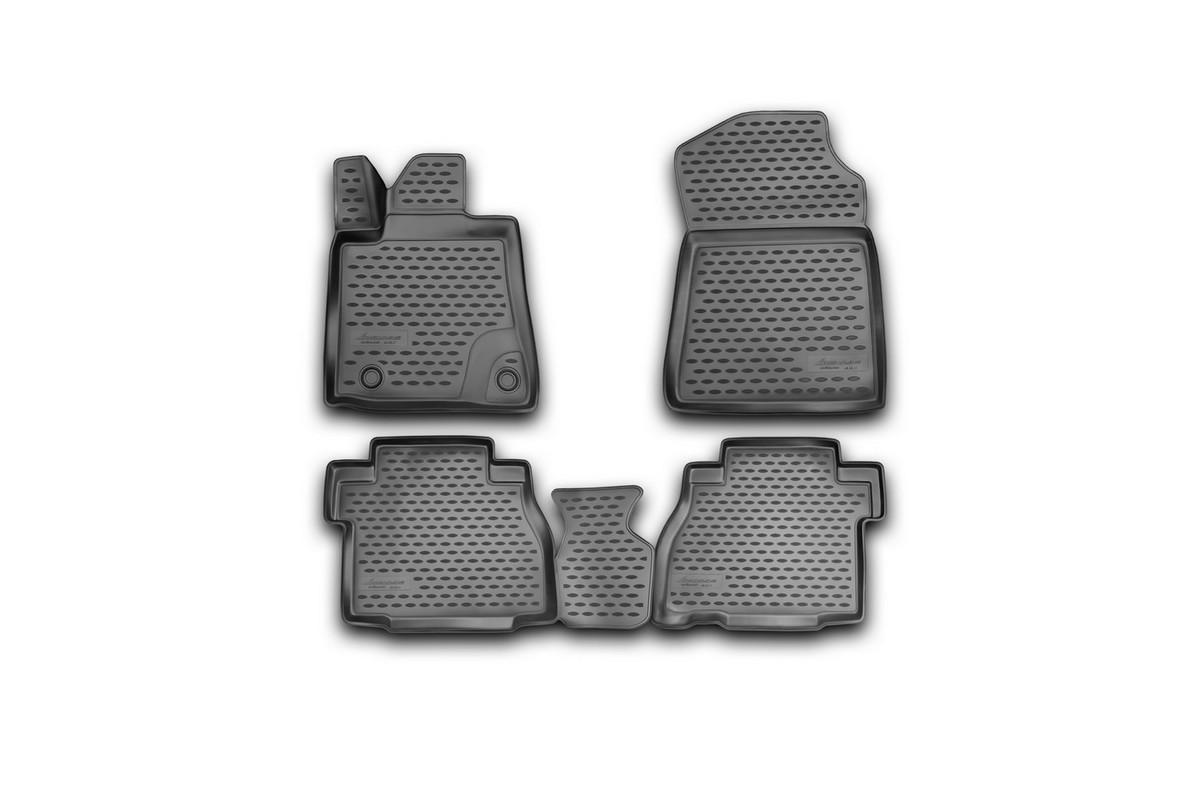 Набор автомобильных 3D-ковриков Novline-Autofamily для Toyota Tundra Double Cab/Crew MAX, 2007-2013, в салон, 4 штFS-80264Набор Novline-Autofamily состоит из 4 ковриков, изготовленных из полиуретана.Основная функция ковров - защита салона автомобиля от загрязнения и влаги. Это достигается за счет высоких бортов, перемычки на тоннель заднего ряда сидений, элементов формы и текстуры, свойств материала, а также запатентованной технологией 3D-перемычки в зоне отдыха ноги водителя, что обеспечивает дополнительную защиту, сохраняя салон автомобиля в первозданном виде.Материал, из которого сделаны коврики, обладает антискользящими свойствами. Для фиксации ковров в салоне автомобиля в комплекте с ними используются специальные крепежи. Форма передней части водительского ковра, уходящая под педаль акселератора, исключает нештатное заедание педалей.Набор подходит для Toyota Tundra Double Cab/Crew MAX 2007-2013 года выпуска.