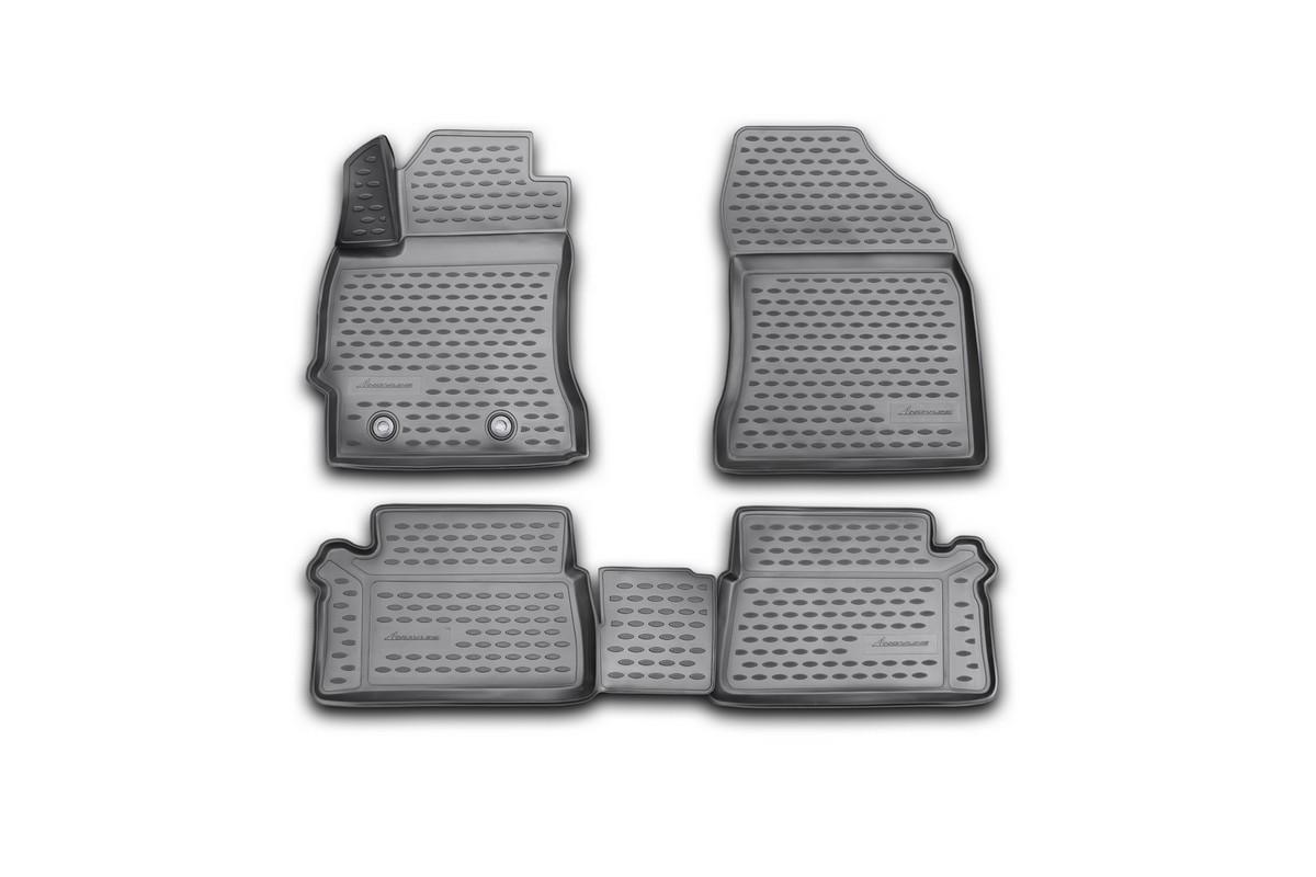Набор автомобильных 3D-ковриков Novline-Autofamily для Toyota Auris, 2013, в салон, 4 штВетерок 2ГФНабор Novline-Autofamily состоит из 4 ковриков, изготовленных из полиуретана.Основная функция ковров - защита салона автомобиля от загрязнения и влаги. Это достигается за счет высоких бортов, перемычки на тоннель заднего ряда сидений, элементов формы и текстуры, свойств материала, а также запатентованной технологией 3D-перемычки в зоне отдыха ноги водителя, что обеспечивает дополнительную защиту, сохраняя салон автомобиля в первозданном виде.Материал, из которого сделаны коврики, обладает антискользящими свойствами. Для фиксации ковров в салоне автомобиля в комплекте с ними используются специальные крепежи. Форма передней части водительского ковра, уходящая под педаль акселератора, исключает нештатное заедание педалей.Набор подходит для Toyota Auris 2013 года выпуска.