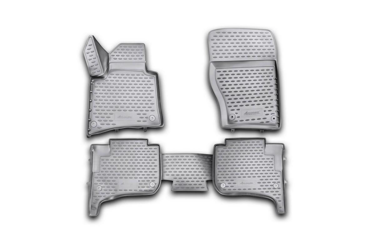 Набор автомобильных 3D-ковриков Novline-Autofamily для Volkswagen Touareg, 2010-2015, 2015->, в салон, 4 штCA-3505Набор Novline-Autofamily состоит из 4 ковриков, изготовленных из полиуретана.Основная функция ковров - защита салона автомобиля от загрязнения и влаги. Это достигается за счет высоких бортов, перемычки на тоннель заднего ряда сидений, элементов формы и текстуры, свойств материала, а также запатентованной технологией 3D-перемычки в зоне отдыха ноги водителя, что обеспечивает дополнительную защиту, сохраняя салон автомобиля в первозданном виде.Материал, из которого сделаны коврики, обладает антискользящими свойствами. Для фиксации ковров в салоне автомобиля в комплекте с ними используются специальные крепежи. Форма передней части водительского ковра, уходящая под педаль акселератора, исключает нештатное заедание педалей.Набор подходит для Volkswagen Touareg 2010-2015, 2015-> года выпуска.