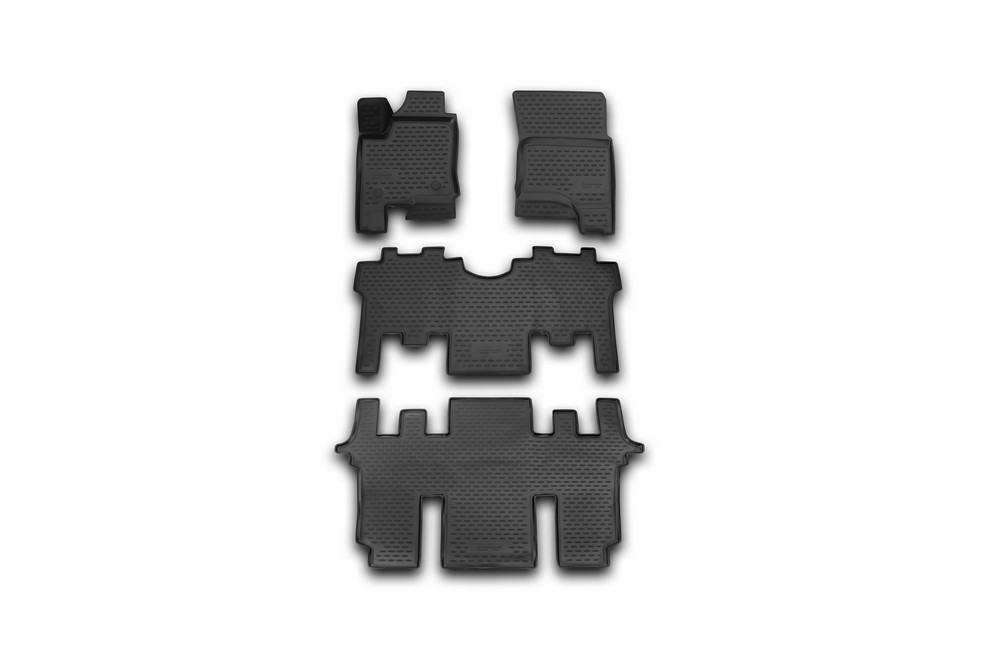 Набор автомобильных 3D-ковриков Novline-Autofamily для SsangYong Stavic, 2013->, в салон, 4 штCA-3505Набор Novline-Autofamily состоит из 4 ковриков, изготовленных из полиуретана.Основная функция ковров - защита салона автомобиля от загрязнения и влаги. Это достигается за счет высоких бортов, перемычки на тоннель заднего ряда сидений, элементов формы и текстуры, свойств материала, а также запатентованной технологией 3D-перемычки в зоне отдыха ноги водителя, что обеспечивает дополнительную защиту, сохраняя салон автомобиля в первозданном виде.Материал, из которого сделаны коврики, обладает антискользящими свойствами. Для фиксации ковров в салоне автомобиля в комплекте с ними используются специальные крепежи. Форма передней части водительского ковра, уходящая под педаль акселератора, исключает нештатное заедание педалей.Набор подходит для SsangYong Stavic с 2013 года выпуска.