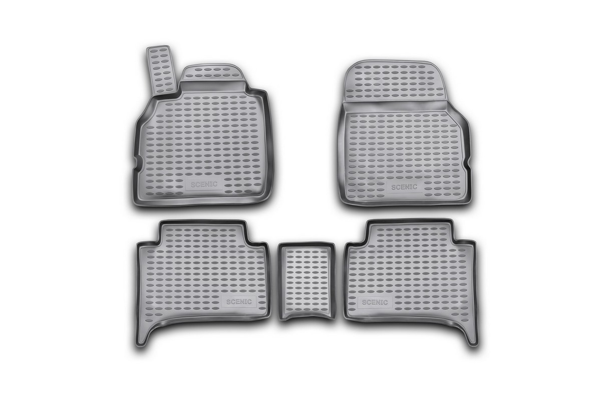 Набор автомобильных ковриков Novline-Autofamily для Renault Scenic II 2003-, в салон, цвет: черный, 5 шт15105004Набор автомобильных ковриков Novline-Autofamily, изготовленный из полиуретана, состоит из 5 ковриков, которые учитывают все особенности каждой модели автомобиля и полностью повторяют контуры пола. Полиуретановые автомобильные коврики для салона произведены из высококачественного материала, который держит форму, прочный и не пачкает обувь. Коврики в салон не только улучшат внешний вид салона вашего автомобиля, но и надежно уберегут его от пыли, грязи и сырости, а значит, защитят кузов от коррозии. Полиуретановые коврики для автомобиля гладкие, приятные и не пропускают влагу. Ковры для автомобилей надежно крепятся на полу и не скользят, что очень важно во время движения. Чистятся коврики очень просто: как при помощи автомобильного пылесоса, так и различными моющими средствами. Набор подходит для Renault Scenic II с 2003 года выпуска.