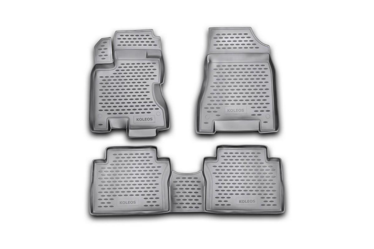 Набор автомобильных ковриков Novline-Autofamily для Renault Koleos 2008-, в салон, 4 шт. NLC.41.14.210kАксион Т-33Набор автомобильных ковриков Novline-Autofamily, изготовленный из полиуретана, состоит из 4 ковриков, которые учитывают все особенности каждой модели автомобиля и полностью повторяют контуры пола. Полиуретановые автомобильные коврики для салона произведены из высококачественного материала, который держит форму, прочный и не пачкает обувь. Коврики в салон не только улучшат внешний вид салона вашего автомобиля, но и надежно уберегут его от пыли, грязи и сырости, а значит, защитят кузов от коррозии. Полиуретановые коврики для автомобиля гладкие, приятные и не пропускают влагу. Ковры для автомобилей надежно крепятся на полу и не скользят, что очень важно во время движения. Чистятся коврики очень просто: как при помощи автомобильного пылесоса, так и различными моющими средствами. Набор подходит для Renault Koleos с 2008 года выпуска.