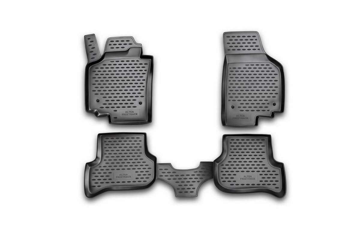 Набор автомобильных ковриков Novline-Autofamily для Seat Altea Freetrack 2007-, в салон, 4 штNLC.44.06.210Набор автомобильных ковриков Novline-Autofamily, изготовленный из полиуретана, состоит из 4 ковриков, которые учитывают все особенности каждой модели автомобиля и полностью повторяют контуры пола. Полиуретановые автомобильные коврики для салона произведены из высококачественного материала, который держит форму, прочный и не пачкает обувь. Коврики в салон не только улучшат внешний вид салона вашего автомобиля, но и надежно уберегут его от пыли, грязи и сырости, а значит, защитят кузов от коррозии. Полиуретановые коврики для автомобиля гладкие, приятные и не пропускают влагу. Ковры для автомобилей надежно крепятся на полу и не скользят, что очень важно во время движения. Чистятся коврики очень просто: как при помощи автомобильного пылесоса, так и различными моющими средствами. Набор подходит для Seat Altea Freetrack с 2007 года выпуска.