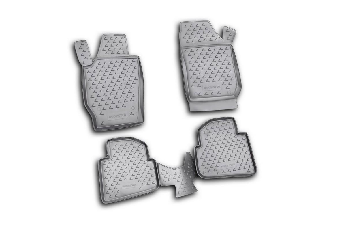 Набор автомобильных ковриков Novline-Autofamily для Skoda Roomster 2006-, в салон, 4 шт. NLC.45.07.210k98298130Набор автомобильных ковриков Novline-Autofamily, изготовленный из полиуретана, состоит из 4 ковриков, которые учитывают все особенности каждой модели автомобиля и полностью повторяют контуры пола. Полиуретановые автомобильные коврики для салона произведены из высококачественного материала, который держит форму, прочный и не пачкает обувь. Коврики в салон не только улучшат внешний вид салона вашего автомобиля, но и надежно уберегут его от пыли, грязи и сырости, а значит, защитят кузов от коррозии. Полиуретановые коврики для автомобиля гладкие, приятные и не пропускают влагу. Ковры для автомобилей надежно крепятся на полу и не скользят, что очень важно во время движения. Чистятся коврики очень просто: как при помощи автомобильного пылесоса, так и различными моющими средствами. Набор подходит для Skoda Roomster с 2006 года выпуска.