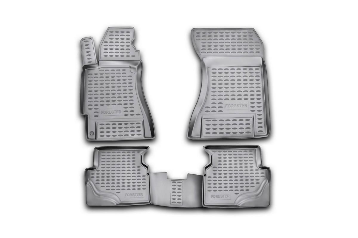 Коврики в салон автомобиля Novline-Autofamily для Subaru Forester, 2002 - 2008, 4 шт19200Коврики Novline-Autofamily улучшат внешний вид салона автомобиля и надежно уберегут его от пыли, грязи и сырости, а значит, защитят кузов от коррозии. Полиуретановые коврики гладкие, приятные и не пропускает влагу. Полиуретановые автомобильные коврики произведены из высококачественного материала, который держит форму и не пачкает обувь. Коврики надежно крепятся на полу и не скользят, что очень важно во время движения, особенно для водителя. Изделия из полиуретана надежно удерживают грязь и влагу, при этом всегда выглядят довольно опрятно. И чистятся они очень просто: как при помощи автомобильного пылесоса, так и различными моющими средствами.