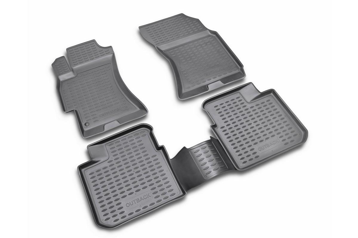 Набор автомобильных ковриков Novline-Autofamily для Subaru Outback 2003-2009, в салон, цвет: черный, оранжевый, 4 шт98293777Набор автомобильных ковриков Novline-Autofamily, изготовленный из полиуретана, состоит из 4 ковриков, которые учитывают все особенности каждой модели автомобиля и полностью повторяют контуры пола. Полиуретановые автомобильные коврики для салона произведены из высококачественного материала, который держит форму, прочный и не пачкает обувь. Коврики в салон не только улучшат внешний вид салона вашего автомобиля, но и надежно уберегут его от пыли, грязи и сырости, а значит, защитят кузов от коррозии. Полиуретановые коврики для автомобиля гладкие, приятные и не пропускают влагу. Ковры для автомобилей надежно крепятся на полу и не скользят, что очень важно во время движения. Чистятся коврики очень просто: как при помощи автомобильного пылесоса, так и различными моющими средствами. Набор подходит для Subaru Outback 2003-2009 годов выпуска.