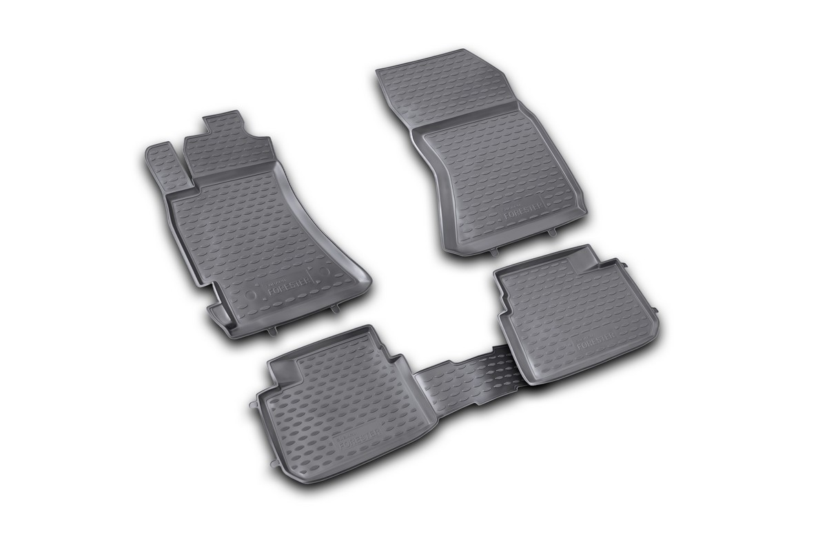 Набор автомобильных ковриков Novline-Autofamily для Subaru Forester 2.5 XT 2008-2013, в салон, 4 штCARPGT00001Набор автомобильных ковриков Novline-Autofamily, изготовленный из полиуретана, состоит из 4 ковриков, которые учитывают все особенности каждой модели автомобиля и полностью повторяют контуры пола. Полиуретановые автомобильные коврики для салона произведены из высококачественного материала, который держит форму, прочный и не пачкает обувь. Коврики в салон не только улучшат внешний вид салона вашего автомобиля, но и надежно уберегут его от пыли, грязи и сырости, а значит, защитят кузов от коррозии. Полиуретановые коврики для автомобиля гладкие, приятные и не пропускают влагу. Ковры для автомобилей надежно крепятся на полу и не скользят, что очень важно во время движения. Чистятся коврики очень просто: как при помощи автомобильного пылесоса, так и различными моющими средствами. Набор подходит для Subaru Forester 2.5 XT 2008-2013 годов выпуска.