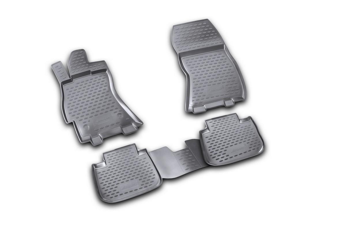 Набор автомобильных ковриков Novline-Autofamily для Subaru Legacy 01/2010-, в салон, 4 шт. NLC.46.09.210k15809002Набор автомобильных ковриков Novline-Autofamily, изготовленный из полиуретана, состоит из 4 ковриков, которые учитывают все особенности каждой модели автомобиля и полностью повторяют контуры пола. Полиуретановые автомобильные коврики для салона произведены из высококачественного материала, который держит форму, прочный и не пачкает обувь. Коврики в салон не только улучшат внешний вид салона вашего автомобиля, но и надежно уберегут его от пыли, грязи и сырости, а значит, защитят кузов от коррозии. Полиуретановые коврики для автомобиля гладкие, приятные и не пропускают влагу. Ковры для автомобилей надежно крепятся на полу и не скользят, что очень важно во время движения. Чистятся коврики очень просто: как при помощи автомобильного пылесоса, так и различными моющими средствами. Набор подходит для Subaru Legacy с января 2010 года выпуска.