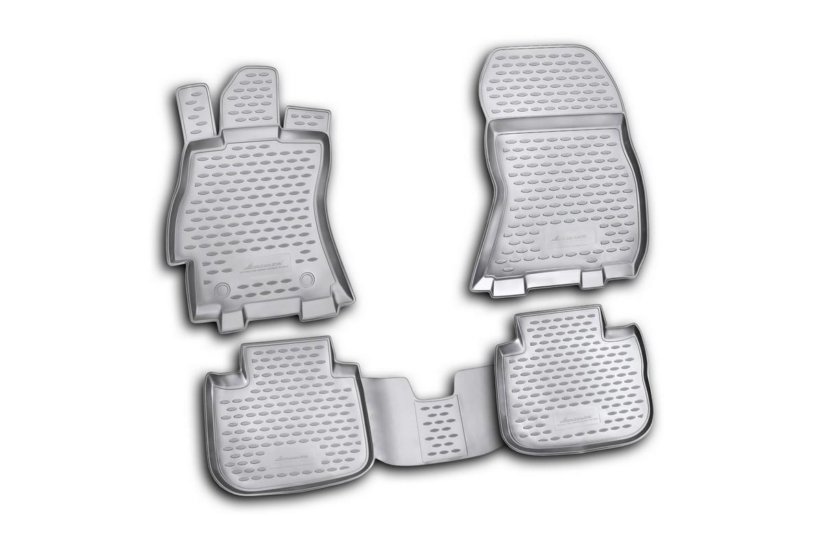 Коврики в салон автомобиля Novline-Autofamily для Subaru Outback, 01/2010 -, 4 штВетерок 2ГФКоврики Novline-Autofamily улучшат внешний вид салона автомобиля и надежно уберегут его от пыли, грязи и сырости, а значит, защитят кузов от коррозии. Полиуретановые коврики гладкие, приятные и не пропускает влагу. Полиуретановые автомобильные коврики произведены из высококачественного материала, который держит форму и не пачкает обувь. Коврики надежно крепятся на полу и не скользят, что очень важно во время движения, особенно для водителя. Изделия из полиуретана надежно удерживают грязь и влагу, при этом всегда выглядят довольно опрятно. И чистятся они очень просто: как при помощи автомобильного пылесоса, так и различными моющими средствами.