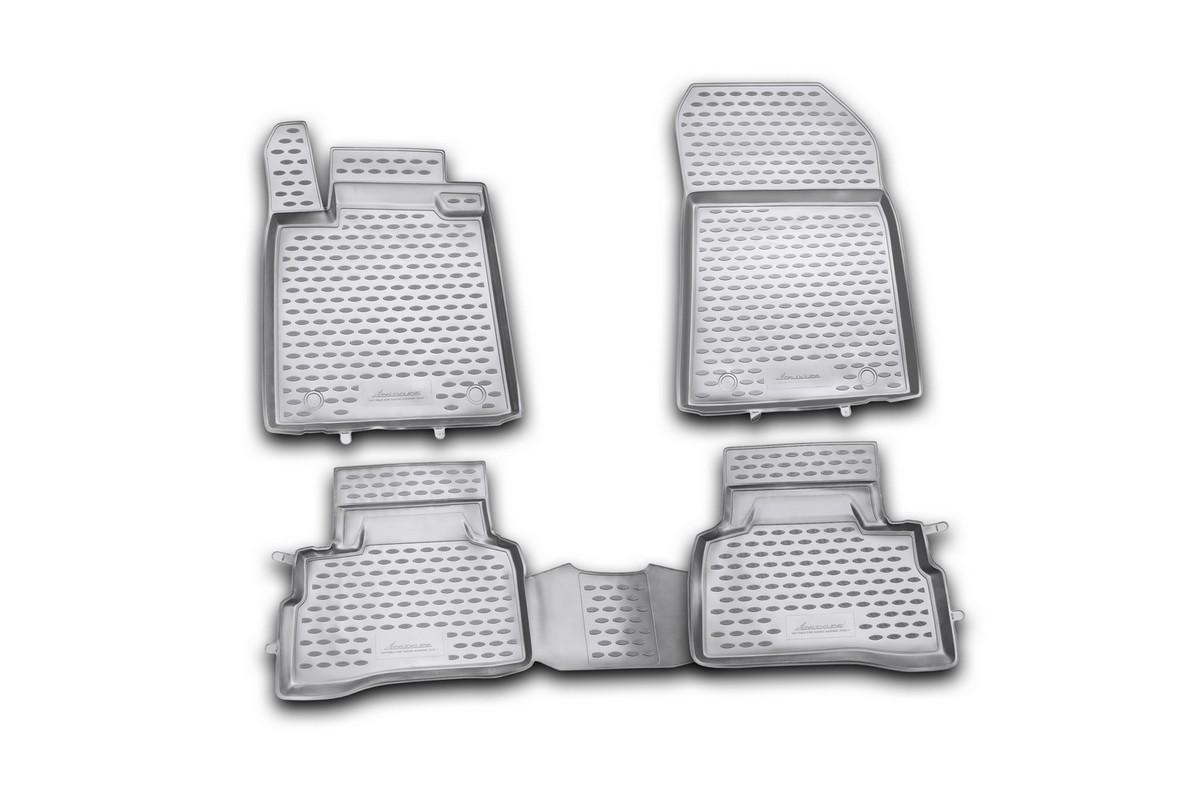 Набор автомобильных ковриков Novline-Autofamily для Suzuki Kizashi 2010-, в салон, 4 шт. NLC.47.20.210kDH2400D/ORНабор автомобильных ковриков Novline-Autofamily, изготовленный из полиуретана, состоит из 4 ковриков, которые учитывают все особенности каждой модели автомобиля и полностью повторяют контуры пола. Полиуретановые автомобильные коврики для салона произведены из высококачественного материала, который держит форму, прочный и не пачкает обувь. Коврики в салон не только улучшат внешний вид салона вашего автомобиля, но и надежно уберегут его от пыли, грязи и сырости, а значит, защитят кузов от коррозии. Полиуретановые коврики для автомобиля гладкие, приятные и не пропускают влагу. Ковры для автомобилей надежно крепятся на полу и не скользят, что очень важно во время движения. Чистятся коврики очень просто: как при помощи автомобильного пылесоса, так и различными моющими средствами. Набор подходит для Suzuki Kizashi с 2010 года выпуска.