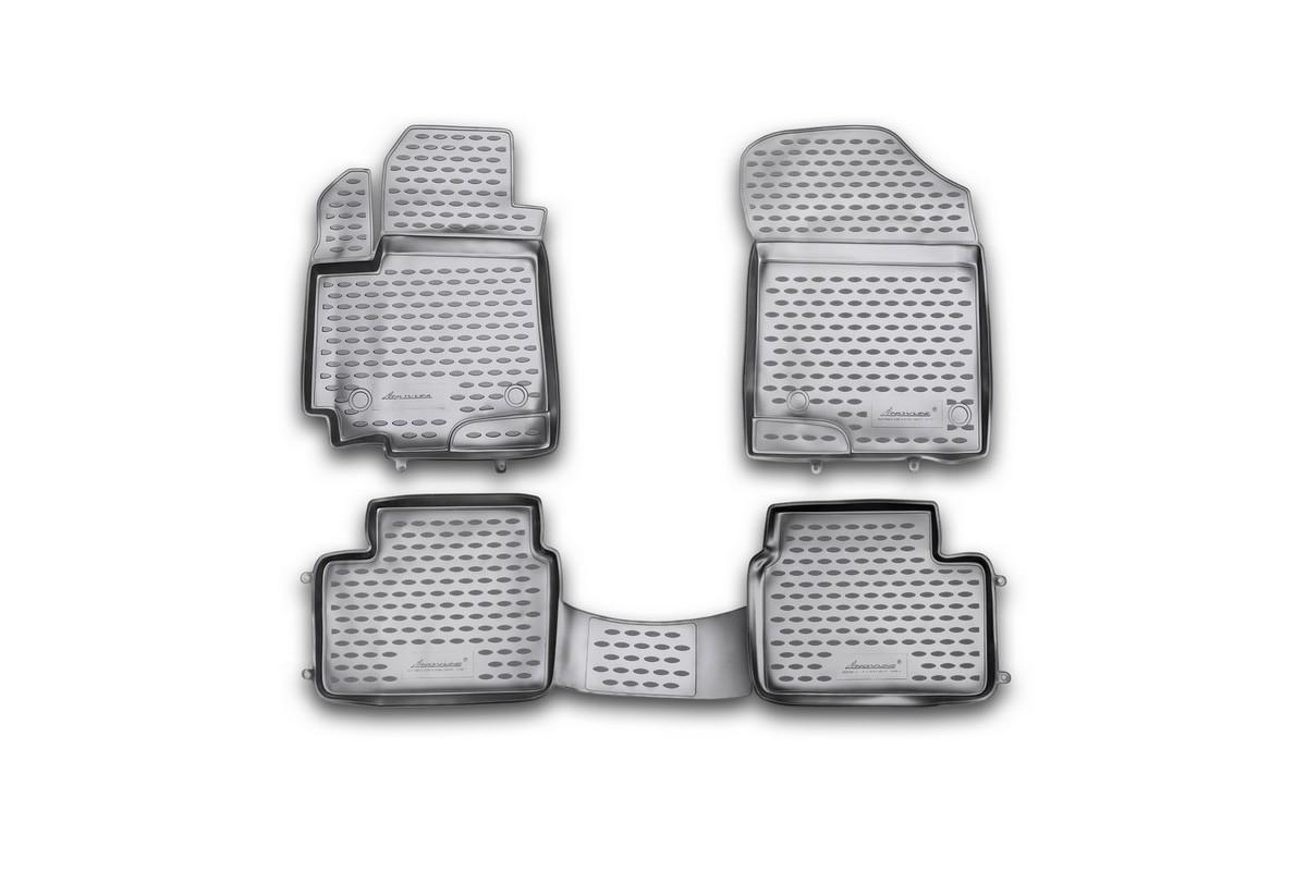 Набор автомобильных ковриков Novline-Autofamily для Suzuki Swift 2010-, в салон, 4 шт. NLC.47.21.210kh54 009312Набор автомобильных ковриков Novline-Autofamily, изготовленный из полиуретана, состоит из 4 ковриков, которые учитывают все особенности каждой модели автомобиля и полностью повторяют контуры пола. Полиуретановые автомобильные коврики для салона произведены из высококачественного материала, который держит форму, прочный и не пачкает обувь. Коврики в салон не только улучшат внешний вид салона вашего автомобиля, но и надежно уберегут его от пыли, грязи и сырости, а значит, защитят кузов от коррозии. Полиуретановые коврики для автомобиля гладкие, приятные и не пропускают влагу. Ковры для автомобилей надежно крепятся на полу и не скользят, что очень важно во время движения. Чистятся коврики очень просто: как при помощи автомобильного пылесоса, так и различными моющими средствами. Набор подходит для Suzuki Swift с 2010 года выпуска.