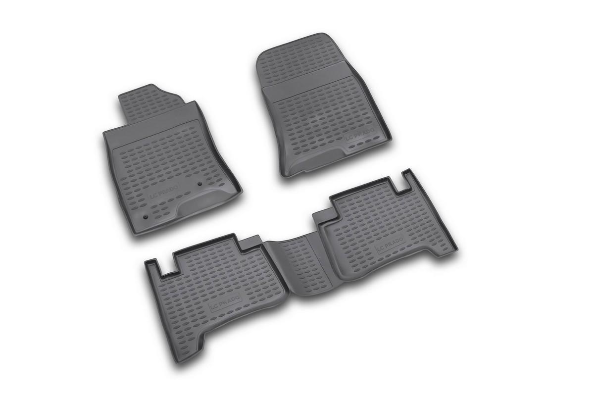 Набор автомобильных ковриков Novline-Autofamily для Toyota Land Cruiser Prado 01/2003-12/2009, в салон, цвет: черный, 4 штFS-80264Набор автомобильных ковриков Novline-Autofamily, изготовленный из полиуретана, состоит из 4 ковриков, которые учитывают все особенности каждой модели автомобиля и полностью повторяют контуры пола. Полиуретановые автомобильные коврики для салона произведены из высококачественного материала, который держит форму, прочный и не пачкает обувь. Коврики в салон не только улучшат внешний вид салона вашего автомобиля, но и надежно уберегут его от пыли, грязи и сырости, а значит, защитят кузов от коррозии. Полиуретановые коврики для автомобиля гладкие, приятные и не пропускают влагу. Ковры для автомобилей надежно крепятся на полу и не скользят, что очень важно во время движения. Чистятся коврики очень просто: как при помощи автомобильного пылесоса, так и различными моющими средствами. Набор подходит для Toyota Land Cruiser Prado январь 2003 - декабрь 2009 годов выпуска.