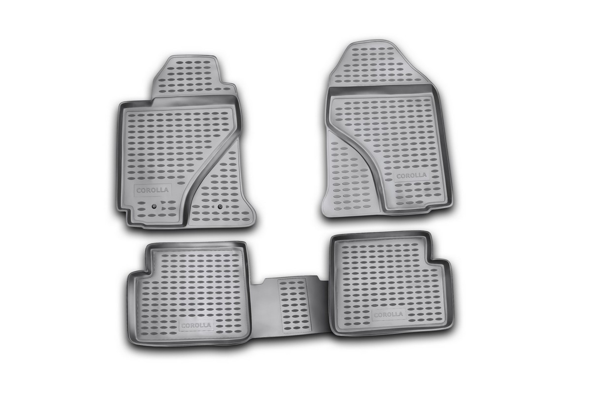 Коврики в салон автомобиля Novline-Autofamily для Toyota Corolla, 06/2002 - 2007, 4 штВетерок 2ГФКоврики Novline-Autofamily улучшат внешний вид салона автомобиля и надежно уберегут его от пыли, грязи и сырости, а значит, защитят кузов от коррозии. Полиуретановые коврики гладкие, приятные и не пропускает влагу. Полиуретановые автомобильные коврики произведены из высококачественного материала, который держит форму и не пачкает обувь. Коврики надежно крепятся на полу и не скользят, что очень важно во время движения, особенно для водителя. Изделия из полиуретана надежно удерживают грязь и влагу, при этом всегда выглядят довольно опрятно. И чистятся они очень просто: как при помощи автомобильного пылесоса, так и различными моющими средствами.