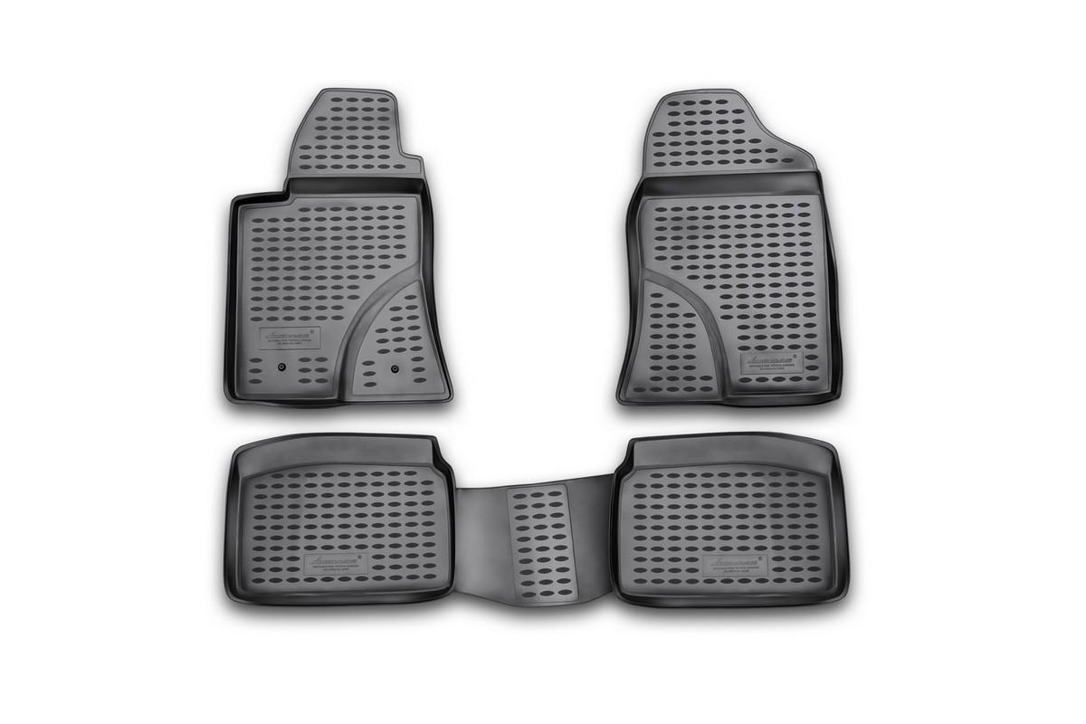 Набор автомобильных ковриков Novline-Autofamily для Toyota Avensis 04/2003-2009, в салон, 4 шт94672Набор автомобильных ковриков Novline-Autofamily, изготовленный из полиуретана, состоит из 4 ковриков, которые учитывают все особенности каждой модели автомобиля и полностью повторяют контуры пола. Полиуретановые автомобильные коврики для салона произведены из высококачественного материала, который держит форму, прочный и не пачкает обувь. Коврики в салон не только улучшат внешний вид салона вашего автомобиля, но и надежно уберегут его от пыли, грязи и сырости, а значит, защитят кузов от коррозии. Полиуретановые коврики для автомобиля гладкие, приятные и не пропускают влагу. Ковры для автомобилей надежно крепятся на полу и не скользят, что очень важно во время движения. Чистятся коврики очень просто: как при помощи автомобильного пылесоса, так и различными моющими средствами. Набор подходит для Toyota Avensis апреля 2003-2009 годов выпуска.