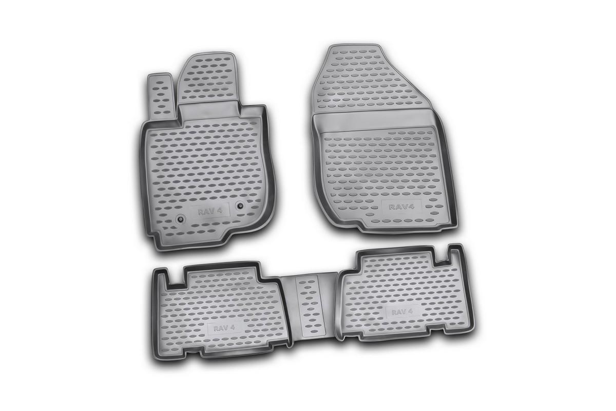 Набор автомобильных ковриков Novline-Autofamily для Toyota RAV4 01/2006-2010, в салон, 4 штUdd500leНабор автомобильных ковриков Novline-Autofamily, изготовленный из полиуретана, состоит из 4 ковриков, которые учитывают все особенности каждой модели автомобиля и полностью повторяют контуры пола. Полиуретановые автомобильные коврики для салона произведены из высококачественного материала, который держит форму, прочный и не пачкает обувь. Коврики в салон не только улучшат внешний вид салона вашего автомобиля, но и надежно уберегут его от пыли, грязи и сырости, а значит, защитят кузов от коррозии. Полиуретановые коврики для автомобиля гладкие, приятные и не пропускают влагу. Ковры для автомобилей надежно крепятся на полу и не скользят, что очень важно во время движения. Чистятся коврики очень просто: как при помощи автомобильного пылесоса, так и различными моющими средствами. Набор подходит для Toyota RAV4 январь 2006 - 2010 годов выпуска.