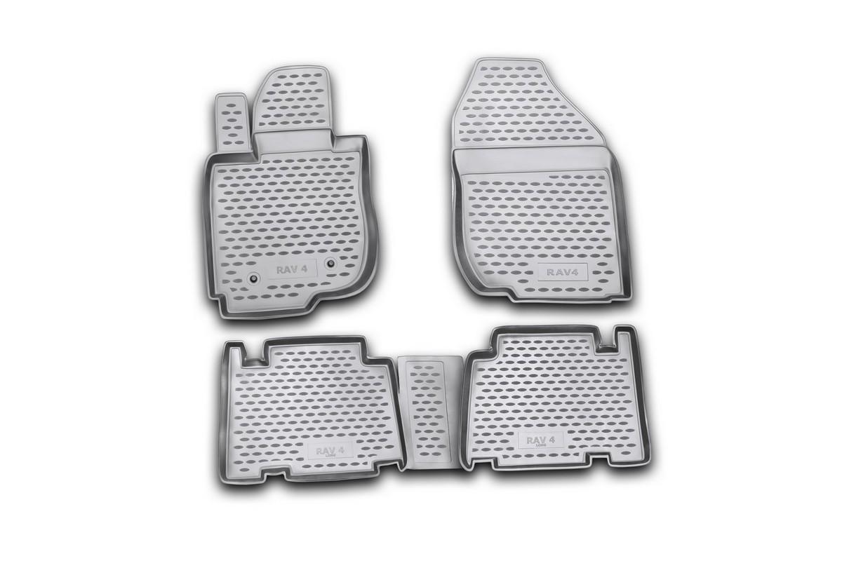 Набор автомобильных ковриков Novline-Autofamily для Toyota RAV4 long 01/2006-, в салон, 4 шт14707002Набор автомобильных ковриков Novline-Autofamily, изготовленный из полиуретана, состоит из 4 ковриков, которые учитывают все особенности каждой модели автомобиля и полностью повторяют контуры пола. Полиуретановые автомобильные коврики для салона произведены из высококачественного материала, который держит форму, прочный и не пачкает обувь. Коврики в салон не только улучшат внешний вид салона вашего автомобиля, но и надежно уберегут его от пыли, грязи и сырости, а значит, защитят кузов от коррозии. Полиуретановые коврики для автомобиля гладкие, приятные и не пропускают влагу. Ковры для автомобилей надежно крепятся на полу и не скользят, что очень важно во время движения. Чистятся коврики очень просто: как при помощи автомобильного пылесоса, так и различными моющими средствами. Набор подходит для Toyota RAV4 long с января 2006 года выпуска.