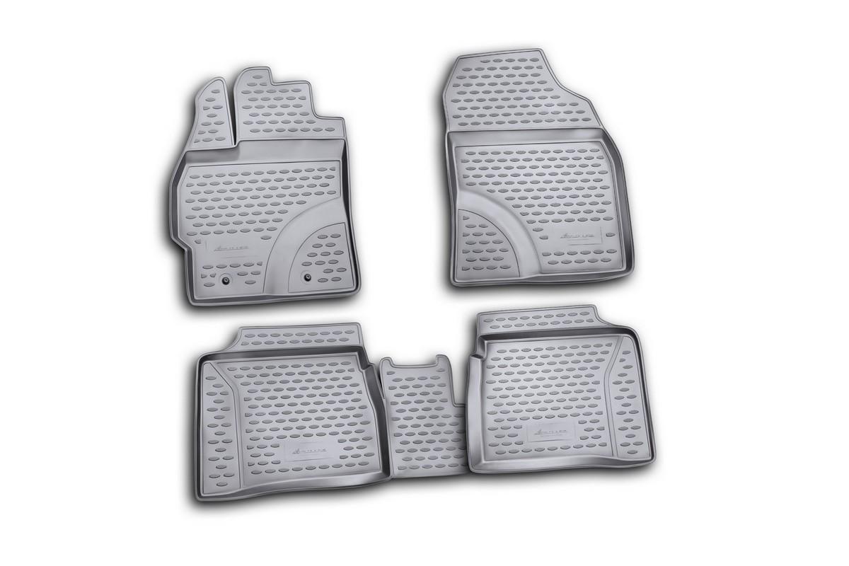 Набор автомобильных ковриков Novline-Autofamily для Toyota Prius 10/2009-, в салон, 4 штDH2400D/ORНабор автомобильных ковриков Novline-Autofamily, изготовленный из полиуретана, состоит из 4 ковриков, которые учитывают все особенности каждой модели автомобиля и полностью повторяют контуры пола. Полиуретановые автомобильные коврики для салона произведены из высококачественного материала, который держит форму, прочный и не пачкает обувь. Коврики в салон не только улучшат внешний вид салона вашего автомобиля, но и надежно уберегут его от пыли, грязи и сырости, а значит, защитят кузов от коррозии. Полиуретановые коврики для автомобиля гладкие, приятные и не пропускают влагу. Ковры для автомобилей надежно крепятся на полу и не скользят, что очень важно во время движения. Чистятся коврики очень просто: как при помощи автомобильного пылесоса, так и различными моющими средствами. Набор подходит для Toyota Prius с октября 2009 года выпуска.
