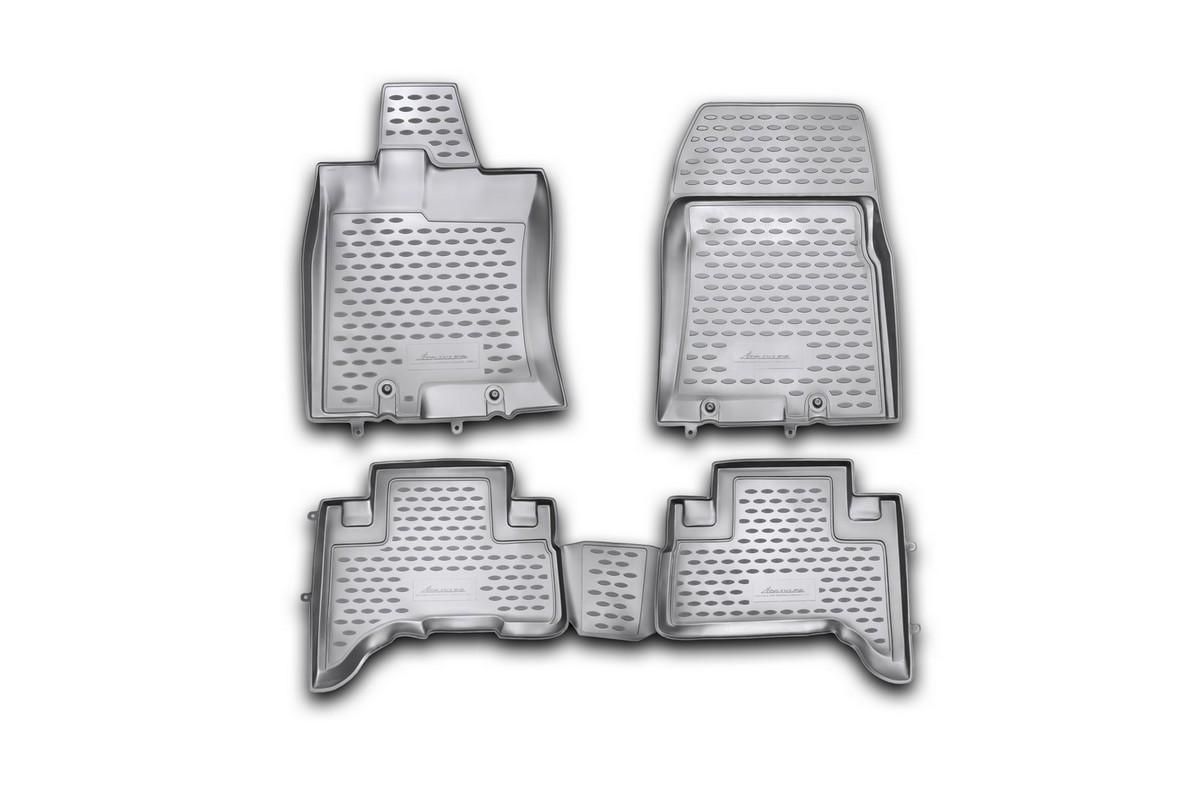 Набор автомобильных ковриков Novline-Autofamily для Toyota FJ- Cruiser 2006-, в салон, 4 штSC-FD421005Набор автомобильных ковриков Novline-Autofamily, изготовленный из полиуретана, состоит из 4 ковриков, которые учитывают все особенности каждой модели автомобиля и полностью повторяют контуры пола. Полиуретановые автомобильные коврики для салона произведены из высококачественного материала, который держит форму, прочный и не пачкает обувь. Коврики в салон не только улучшат внешний вид салона вашего автомобиля, но и надежно уберегут его от пыли, грязи и сырости, а значит, защитят кузов от коррозии. Полиуретановые коврики для автомобиля гладкие, приятные и не пропускают влагу. Ковры для автомобилей надежно крепятся на полу и не скользят, что очень важно во время движения. Чистятся коврики очень просто: как при помощи автомобильного пылесоса, так и различными моющими средствами. Набор подходит для Toyota FJ- Cruiser с 2006 года выпуска.