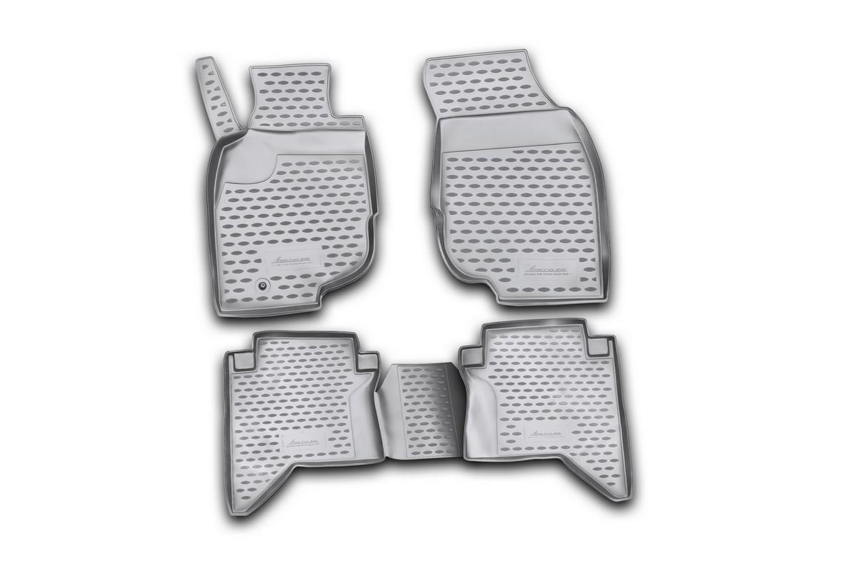 Набор автомобильных ковриков Novline-Autofamily для Toyota Hilux 2008- в салон, 4 шт98298130Набор автомобильных ковриков Novline-Autofamily, изготовленный из полиуретана, состоит из 4 ковриков, которые учитывают все особенности каждой модели автомобиля и полностью повторяют контуры пола. Полиуретановые автомобильные коврики для салона произведены из высококачественного материала, который держит форму, прочный и не пачкает обувь. Коврики в салон не только улучшат внешний вид салона вашего автомобиля, но и надежно уберегут его от пыли, грязи и сырости, а значит, защитят кузов от коррозии. Полиуретановые коврики для автомобиля гладкие, приятные и не пропускают влагу. Ковры для автомобилей надежно крепятся на полу и не скользят, что очень важно во время движения. Чистятся коврики очень просто: как при помощи автомобильного пылесоса, так и различными моющими средствами. Набор подходит для Toyota Hilux с 2008 года выпуска.