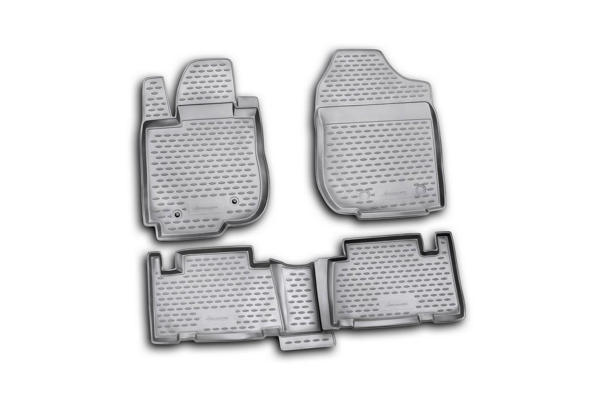 Коврики в салон автомобиля Novline-Autofamily для Toyota RAV4, 2010 -, 4 шт12805001Коврики Novline-Autofamily улучшат внешний вид салона автомобиля и надежно уберегут его от пыли, грязи и сырости, а значит, защитят кузов от коррозии. Полиуретановые коврики гладкие, приятные и не пропускает влагу. Полиуретановые автомобильные коврики произведены из высококачественного материала, который держит форму и не пачкает обувь. Коврики надежно крепятся на полу и не скользят, что очень важно во время движения, особенно для водителя. Изделия из полиуретана надежно удерживают грязь и влагу, при этом всегда выглядят довольно опрятно. И чистятся они очень просто: как при помощи автомобильного пылесоса, так и различными моющими средствами.
