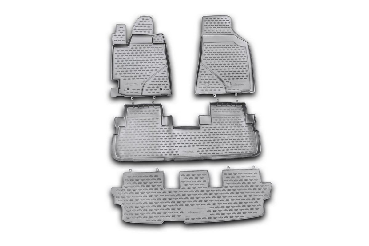 Набор автомобильных ковриков Novline-Autofamily для Toyota Highlander 2010-2014, в салон, 4 штCM000001326Набор автомобильных ковриков Novline-Autofamily, изготовленный из полиуретана, состоит из 4 ковриков, которые учитывают все особенности каждой модели автомобиля и полностью повторяют контуры пола. Полиуретановые автомобильные коврики для салона произведены из высококачественного материала, который держит форму, прочный и не пачкает обувь. Коврики в салон не только улучшат внешний вид салона вашего автомобиля, но и надежно уберегут его от пыли, грязи и сырости, а значит, защитят кузов от коррозии. Полиуретановые коврики для автомобиля гладкие, приятные и не пропускают влагу. Ковры для автомобилей надежно крепятся на полу и не скользят, что очень важно во время движения. Чистятся коврики очень просто: как при помощи автомобильного пылесоса, так и различными моющими средствами. Набор подходит для Toyota Highlander 2010-2014 годов выпуска.Уважаемые клиенты!Обращаем ваше внимание, на тот факт, что коврики имеют форму, соответствующую модели данного автомобиля. Также обращаем внимание, что в комплект входят 4 коврика. Фото служит для визуального восприятия товара.