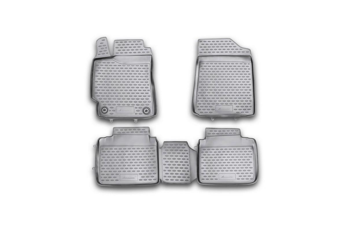 Набор автомобильных ковриков Novline-Autofamily для Toyota Camry 2.5L/3.5L 2011-2014, 2014-, в салон, цвет: черный, 4 штFS-80264Набор автомобильных ковриков Novline-Autofamily, изготовленный из полиуретана, состоит из 4 ковриков, которые учитывают все особенности каждой модели автомобиля и полностью повторяют контуры пола. Полиуретановые автомобильные коврики для салона произведены из высококачественного материала, который держит форму, прочный и не пачкает обувь. Коврики в салон не только улучшат внешний вид салона вашего автомобиля, но и надежно уберегут его от пыли, грязи и сырости, а значит, защитят кузов от коррозии. Полиуретановые коврики для автомобиля гладкие, приятные и не пропускают влагу. Ковры для автомобилей надежно крепятся на полу и не скользят, что очень важно во время движения. Чистятся коврики очень просто: как при помощи автомобильного пылесоса, так и различными моющими средствами. Набор подходит для Toyota Camry 2.5L/3.5L 2011-2014, 2014 и позднее годов выпуска.