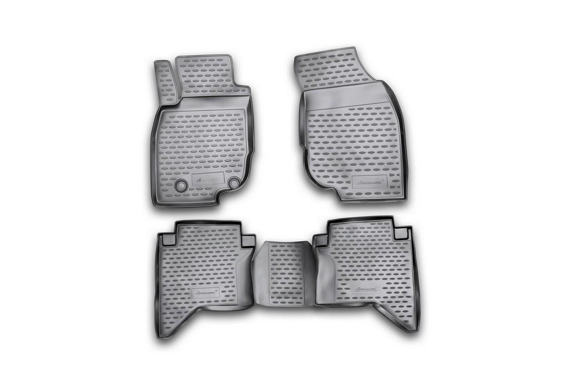 Набор автомобильных ковриков Novline-Autofamily для Toyota Hilux 2011-, в салон, 4 шт98298130Набор автомобильных ковриков Novline-Autofamily, изготовленный из полиуретана, состоит из 4 ковриков, которые учитывают все особенности каждой модели автомобиля и полностью повторяют контуры пола. Полиуретановые автомобильные коврики для салона произведены из высококачественного материала, который держит форму, прочный и не пачкает обувь. Коврики в салон не только улучшат внешний вид салона вашего автомобиля, но и надежно уберегут его от пыли, грязи и сырости, а значит, защитят кузов от коррозии. Полиуретановые коврики для автомобиля гладкие, приятные и не пропускают влагу. Ковры для автомобилей надежно крепятся на полу и не скользят, что очень важно во время движения. Чистятся коврики очень просто: как при помощи автомобильного пылесоса, так и различными моющими средствами. Набор подходит для Toyota Hilux с 2011 года выпуска.