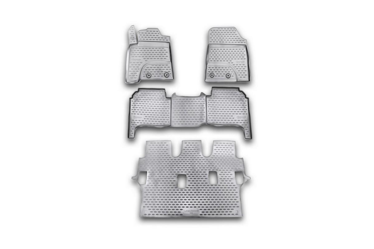 Набор автомобильных ковриков Novline-Autofamily для Toyota Land Cruiser 200 01/2012-, в салон, 4 шт54 009312Набор автомобильных ковриков Novline-Autofamily, изготовленный из полиуретана, состоит из 4 ковриков, которые учитывают все особенности каждой модели автомобиля и полностью повторяют контуры пола. Полиуретановые автомобильные коврики для салона произведены из высококачественного материала, который держит форму, прочный и не пачкает обувь. Коврики в салон не только улучшат внешний вид салона вашего автомобиля, но и надежно уберегут его от пыли, грязи и сырости, а значит, защитят кузов от коррозии. Полиуретановые коврики для автомобиля гладкие, приятные и не пропускают влагу. Ковры для автомобилей надежно крепятся на полу и не скользят, что очень важно во время движения. Чистятся коврики очень просто: как при помощи автомобильного пылесоса, так и различными моющими средствами. Набор подходит для Toyota Land Cruiser 200 с января 2012 года выпуска.