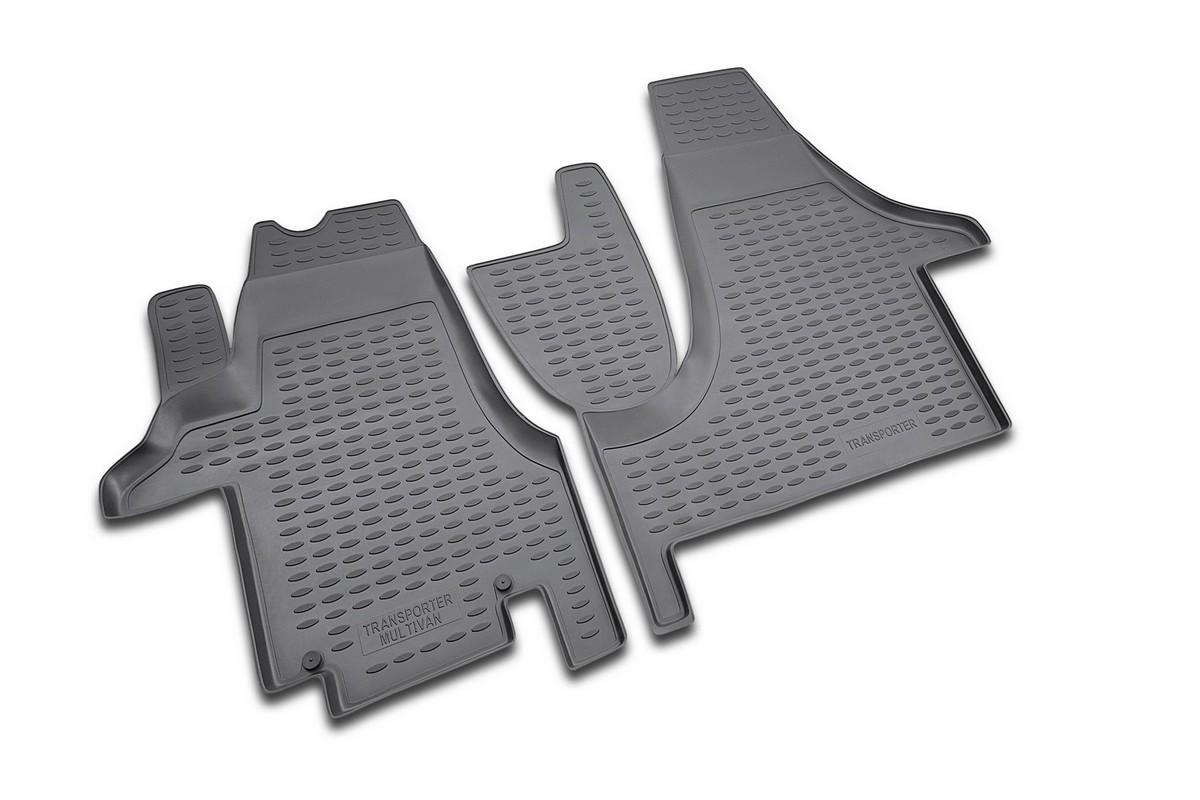 Набор автомобильных ковриков Novline-Autofamily для Volkswagen Transporter 2004-, в салон, цвет: черный, 2 шт54 009312Набор автомобильных ковриков Novline-Autofamily, изготовленный из полиуретана, состоит из 2 ковриков, которые учитывают все особенности каждой модели автомобиля и полностью повторяют контуры пола. Полиуретановые автомобильные коврики для салона произведены из высококачественного материала, который держит форму, прочный и не пачкает обувь. Коврики в салон не только улучшат внешний вид салона вашего автомобиля, но и надежно уберегут его от пыли, грязи и сырости, а значит, защитят кузов от коррозии. Полиуретановые коврики для автомобиля гладкие, приятные и не пропускают влагу. Ковры для автомобилей надежно крепятся на полу и не скользят, что очень важно во время движения. Чистятся коврики очень просто: как при помощи автомобильного пылесоса, так и различными моющими средствами. Набор подходит для Volkswagen Transporter с 2004 года выпуска.