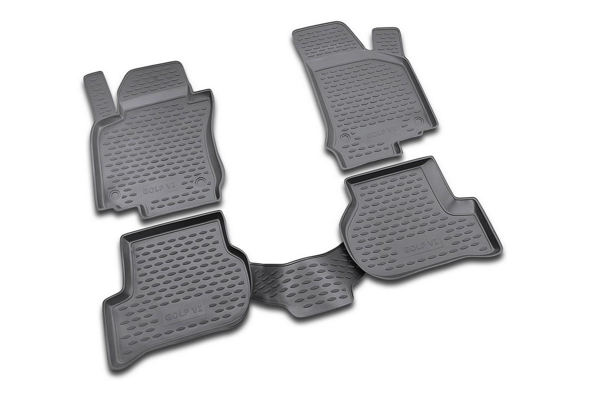 Набор автомобильных ковриков Novline-Autofamily для Volkswagen Golf VI 04/2009-, в салон, 4 шт. NLC.51.26.210kh98298130Набор автомобильных ковриков Novline-Autofamily, изготовленный из полиуретана, состоит из 4 ковриков, которые учитывают все особенности каждой модели автомобиля и полностью повторяют контуры пола. Полиуретановые автомобильные коврики для салона произведены из высококачественного материала, который держит форму, прочный и не пачкает обувь. Коврики в салон не только улучшат внешний вид салона вашего автомобиля, но и надежно уберегут его от пыли, грязи и сырости, а значит, защитят кузов от коррозии. Полиуретановые коврики для автомобиля гладкие, приятные и не пропускают влагу. Ковры для автомобилей надежно крепятся на полу и не скользят, что очень важно во время движения. Чистятся коврики очень просто: как при помощи автомобильного пылесоса, так и различными моющими средствами. Набор подходит для Volkswagen Golf VI с апреля 2009 года выпуска.