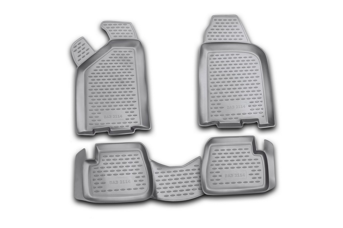 Набор автомобильных ковриков Novline-Autofamily для ВАЗ 2114, в салон, 4 шт. NLC.52.09.21014703001Набор автомобильных ковриков Novline-Autofamily, изготовленный из полиуретана, состоит из 4 ковриков, которые учитывают все особенности каждой модели автомобиля и полностью повторяют контуры пола. Полиуретановые автомобильные коврики для салона произведены из высококачественного материала, который держит форму, прочный и не пачкает обувь. Коврики в салон не только улучшат внешний вид салона вашего автомобиля, но и надежно уберегут его от пыли, грязи и сырости, а значит, защитят кузов от коррозии. Полиуретановые коврики для автомобиля гладкие, приятные и не пропускают влагу. Ковры для автомобилей надежно крепятся на полу и не скользят, что очень важно во время движения. Чистятся коврики очень просто: как при помощи автомобильного пылесоса, так и различными моющими средствами. Набор подходит для ВАЗ 2114.