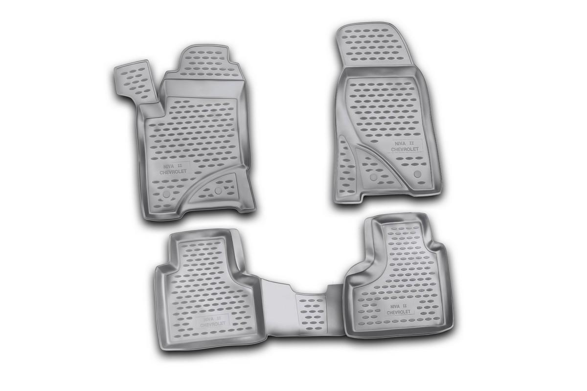 Набор автомобильных ковриков Novline-Autofamily для Chevrolet Niva 2009-, в салон, 4 шт54 009318Набор автомобильных ковриков Novline-Autofamily, изготовленный из полиуретана, состоит из 4 ковриков, которые учитывают все особенности каждой модели автомобиля и полностью повторяют контуры пола. Полиуретановые автомобильные коврики для салона произведены из высококачественного материала, который держит форму, прочный и не пачкает обувь. Коврики в салон не только улучшат внешний вид салона вашего автомобиля, но и надежно уберегут его от пыли, грязи и сырости, а значит, защитят кузов от коррозии. Полиуретановые коврики для автомобиля гладкие, приятные и не пропускают влагу. Ковры для автомобилей надежно крепятся на полу и не скользят, что очень важно во время движения. Чистятся коврики очень просто: как при помощи автомобильного пылесоса, так и различными моющими средствами. Набор подходит для Chevrolet Niva с 2009 года выпуска.