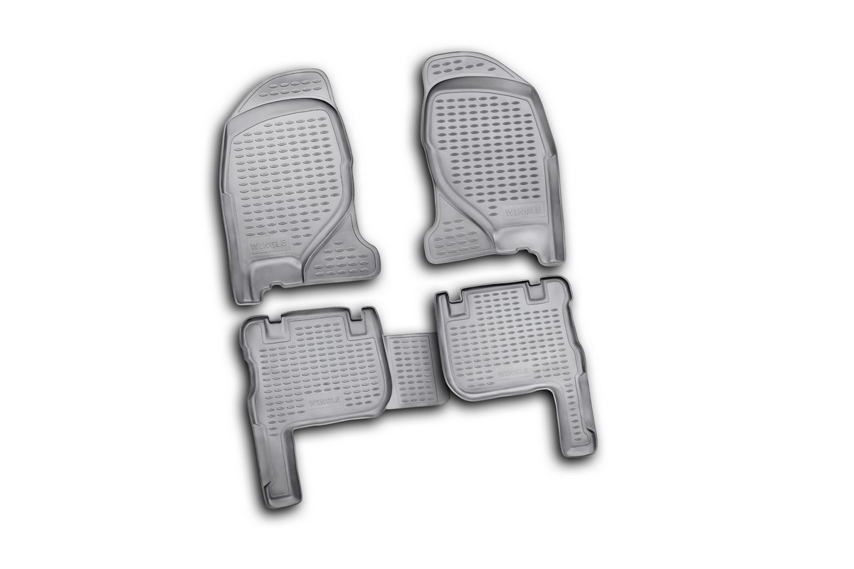 Набор автомобильных ковриков Novline-Autofamily для Great Wall Wingle 2005-, в салон, 4 шт. NLC.59.06.210Ветерок 2ГФНабор автомобильных ковриков Novline-Autofamily, изготовленный из полиуретана, состоит из 4 ковриков, которые учитывают все особенности каждой модели автомобиля и полностью повторяют контуры пола. Полиуретановые автомобильные коврики для салона произведены из высококачественного материала, который держит форму, прочный и не пачкает обувь. Коврики в салон не только улучшат внешний вид салона вашего автомобиля, но и надежно уберегут его от пыли, грязи и сырости, а значит, защитят кузов от коррозии. Полиуретановые коврики для автомобиля гладкие, приятные и не пропускают влагу. Ковры для автомобилей надежно крепятся на полу и не скользят, что очень важно во время движения. Чистятся коврики очень просто: как при помощи автомобильного пылесоса, так и различными моющими средствами. Набор подходит для Great Wall Wingle с 2005 года выпуска.