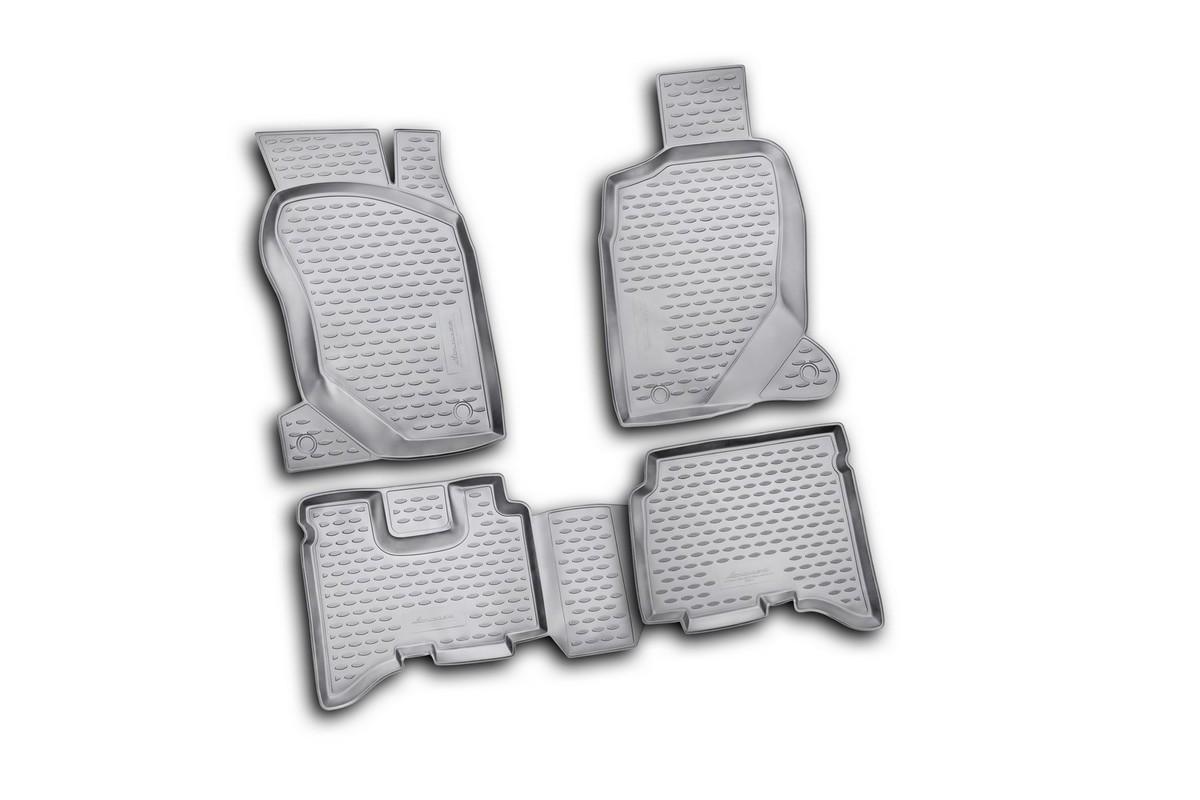 Набор автомобильных ковриков Novline-Autofamily для Great Wall Hover H3 2010-, в салон, 4 штKVR02166801210khНабор автомобильных ковриков Novline-Autofamily, изготовленный из полиуретана, состоит из 4 ковриков, которые учитывают все особенности каждой модели автомобиля и полностью повторяют контуры пола. Полиуретановые автомобильные коврики для салона произведены из высококачественного материала, который держит форму, прочный и не пачкает обувь. Коврики в салон не только улучшат внешний вид салона вашего автомобиля, но и надежно уберегут его от пыли, грязи и сырости, а значит, защитят кузов от коррозии. Полиуретановые коврики для автомобиля гладкие, приятные и не пропускают влагу. Ковры для автомобилей надежно крепятся на полу и не скользят, что очень важно во время движения. Чистятся коврики очень просто: как при помощи автомобильного пылесоса, так и различными моющими средствами. Набор подходит для Great Wall Hover H3 с 2010 года выпуска.