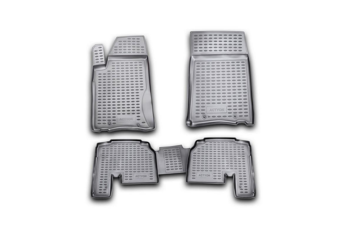 Набор автомобильных ковриков Novline-Autofamily для SsangYong Actyon 2006-, в салон, 4 штFS-80264Набор автомобильных ковриков Novline-Autofamily, изготовленный из полиуретана, состоит из 4 ковриков, которые учитывают все особенности каждой модели автомобиля и полностью повторяют контуры пола. Полиуретановые автомобильные коврики для салона произведены из высококачественного материала, который держит форму, прочный и не пачкает обувь. Коврики в салон не только улучшат внешний вид салона вашего автомобиля, но и надежно уберегут его от пыли, грязи и сырости, а значит, защитят кузов от коррозии. Полиуретановые коврики для автомобиля гладкие, приятные и не пропускают влагу. Ковры для автомобилей надежно крепятся на полу и не скользят, что очень важно во время движения. Чистятся коврики очень просто: как при помощи автомобильного пылесоса, так и различными моющими средствами. Набор подходит для SsangYong Actyon с 2006 года выпуска.