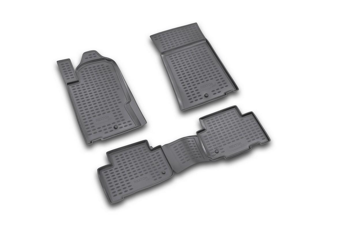 Набор автомобильных ковриков Novline-Autofamily для SsangYong Rexton 2006-, в салон, 4 шт. NLC.61.08.210CARSZK00009Набор автомобильных ковриков Novline-Autofamily, изготовленный из полиуретана, состоит из 4 ковриков, которые учитывают все особенности каждой модели автомобиля и полностью повторяют контуры пола. Полиуретановые автомобильные коврики для салона произведены из высококачественного материала, который держит форму, прочный и не пачкает обувь. Коврики в салон не только улучшат внешний вид салона вашего автомобиля, но и надежно уберегут его от пыли, грязи и сырости, а значит, защитят кузов от коррозии. Полиуретановые коврики для автомобиля гладкие, приятные и не пропускают влагу. Ковры для автомобилей надежно крепятся на полу и не скользят, что очень важно во время движения. Чистятся коврики очень просто: как при помощи автомобильного пылесоса, так и различными моющими средствами. Набор подходит для SsangYong Rexton с 2006 года выпуска.