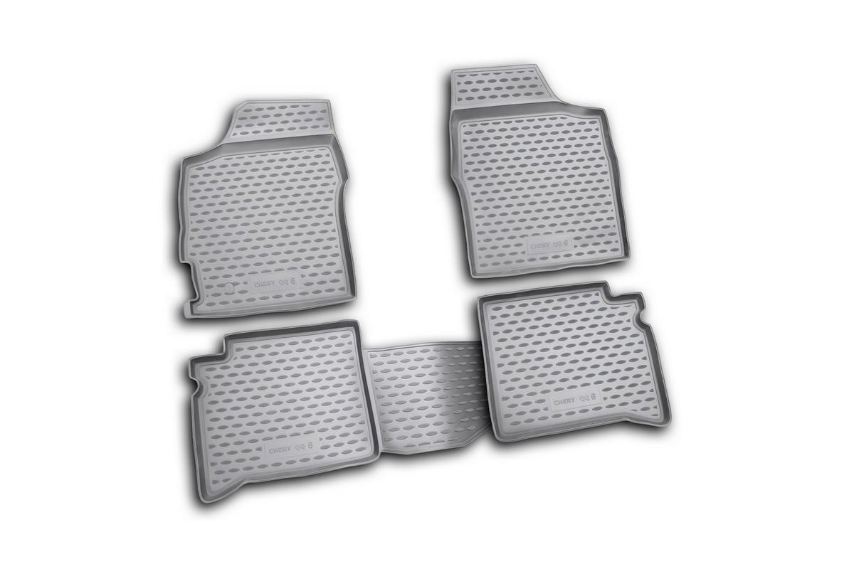 Набор автомобильных ковриков Novline-Autofamily для Chery QQ6 06/2006-, в салон, 4 шт. NLC.63.05.210k94672Набор автомобильных ковриков Novline-Autofamily, изготовленный из полиуретана, состоит из 4 ковриков, которые учитывают все особенности каждой модели автомобиля и полностью повторяют контуры пола. Полиуретановые автомобильные коврики для салона произведены из высококачественного материала, который держит форму, прочный и не пачкает обувь. Коврики в салон не только улучшат внешний вид салона вашего автомобиля, но и надежно уберегут его от пыли, грязи и сырости, а значит, защитят кузов от коррозии. Полиуретановые коврики для автомобиля гладкие, приятные и не пропускают влагу. Ковры для автомобилей надежно крепятся на полу и не скользят, что очень важно во время движения. Чистятся коврики очень просто: как при помощи автомобильного пылесоса, так и различными моющими средствами. Набор подходит для Chery QQ6 с июня 2006 года выпуска.