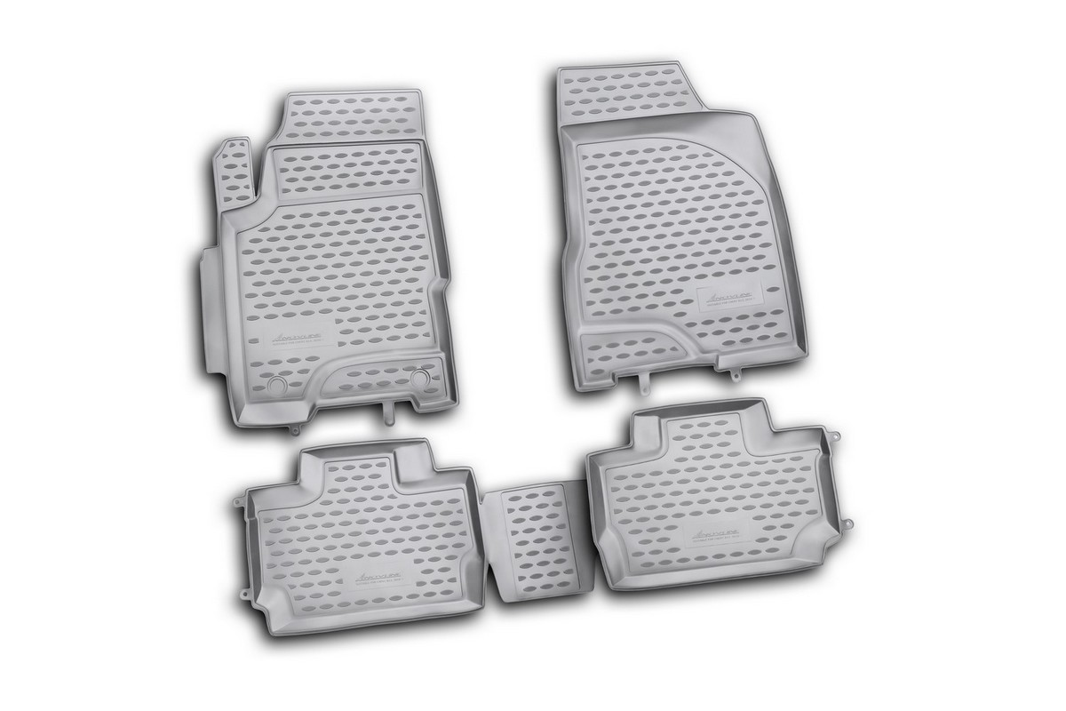 Набор автомобильных ковриков Novline-Autofamily для Chery A13 2010-, в салон, 4 шт. NLC.63.09.210kh300151_темно-розовыйНабор автомобильных ковриков Novline-Autofamily, изготовленный из полиуретана, состоит из 4 ковриков, которые учитывают все особенности каждой модели автомобиля и полностью повторяют контуры пола. Полиуретановые автомобильные коврики для салона произведены из высококачественного материала, который держит форму, прочный и не пачкает обувь. Коврики в салон не только улучшат внешний вид салона вашего автомобиля, но и надежно уберегут его от пыли, грязи и сырости, а значит, защитят кузов от коррозии. Полиуретановые коврики для автомобиля гладкие, приятные и не пропускают влагу. Ковры для автомобилей надежно крепятся на полу и не скользят, что очень важно во время движения. Чистятся коврики очень просто: как при помощи автомобильного пылесоса, так и различными моющими средствами. Набор подходит для Chery A13 с 2010 года выпуска.