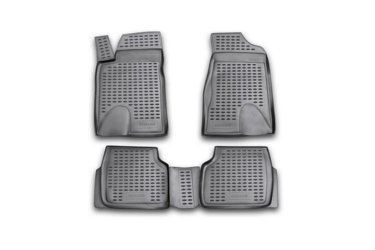 Набор автомобильных ковриков Novline-Autofamily для Iran Khodro Samand 2005-, в салон, 4 штFS-80264Набор автомобильных ковриков Novline-Autofamily, изготовленный из полиуретана, состоит из 4 ковриков, которые учитывают все особенности каждой модели автомобиля и полностью повторяют контуры пола. Полиуретановые автомобильные коврики для салона произведены из высококачественного материала, который держит форму, прочный и не пачкает обувь. Коврики в салон не только улучшат внешний вид салона вашего автомобиля, но и надежно уберегут его от пыли, грязи и сырости, а значит, защитят кузов от коррозии. Полиуретановые коврики для автомобиля гладкие, приятные и не пропускают влагу. Ковры для автомобилей надежно крепятся на полу и не скользят, что очень важно во время движения. Чистятся коврики очень просто: как при помощи автомобильного пылесоса, так и различными моющими средствами. Набор подходит для Iran Khodro Samand с 2005 года выпуска.