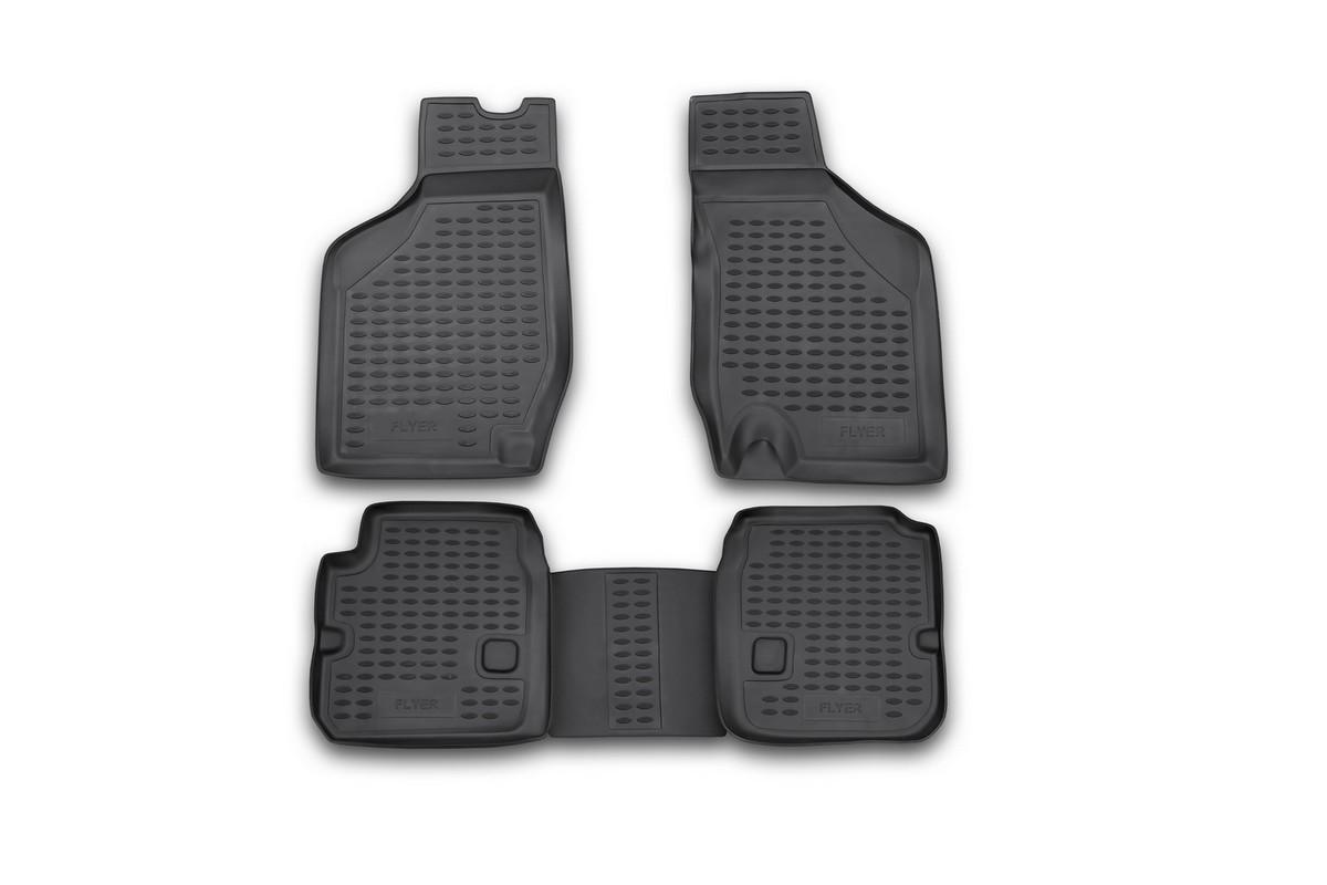 Коврики в салон автомобиля Novline-Autofamily для Byd Flyer, 06/2009 -, 4 штFS-80423Коврики Novline-Autofamily улучшат внешний вид салона автомобиля и надежно уберегут его от пыли, грязи и сырости, а значит, защитят кузов от коррозии. Полиуретановые коврики гладкие, приятные и не пропускает влагу. Полиуретановые автомобильные коврики произведены из высококачественного материала, который держит форму и не пачкает обувь. Коврики надежно крепятся на полу и не скользят, что очень важно во время движения, особенно для водителя. Изделия из полиуретана надежно удерживают грязь и влагу, при этом всегда выглядят довольно опрятно. И чистятся они очень просто: как при помощи автомобильного пылесоса, так и различными моющими средствами.