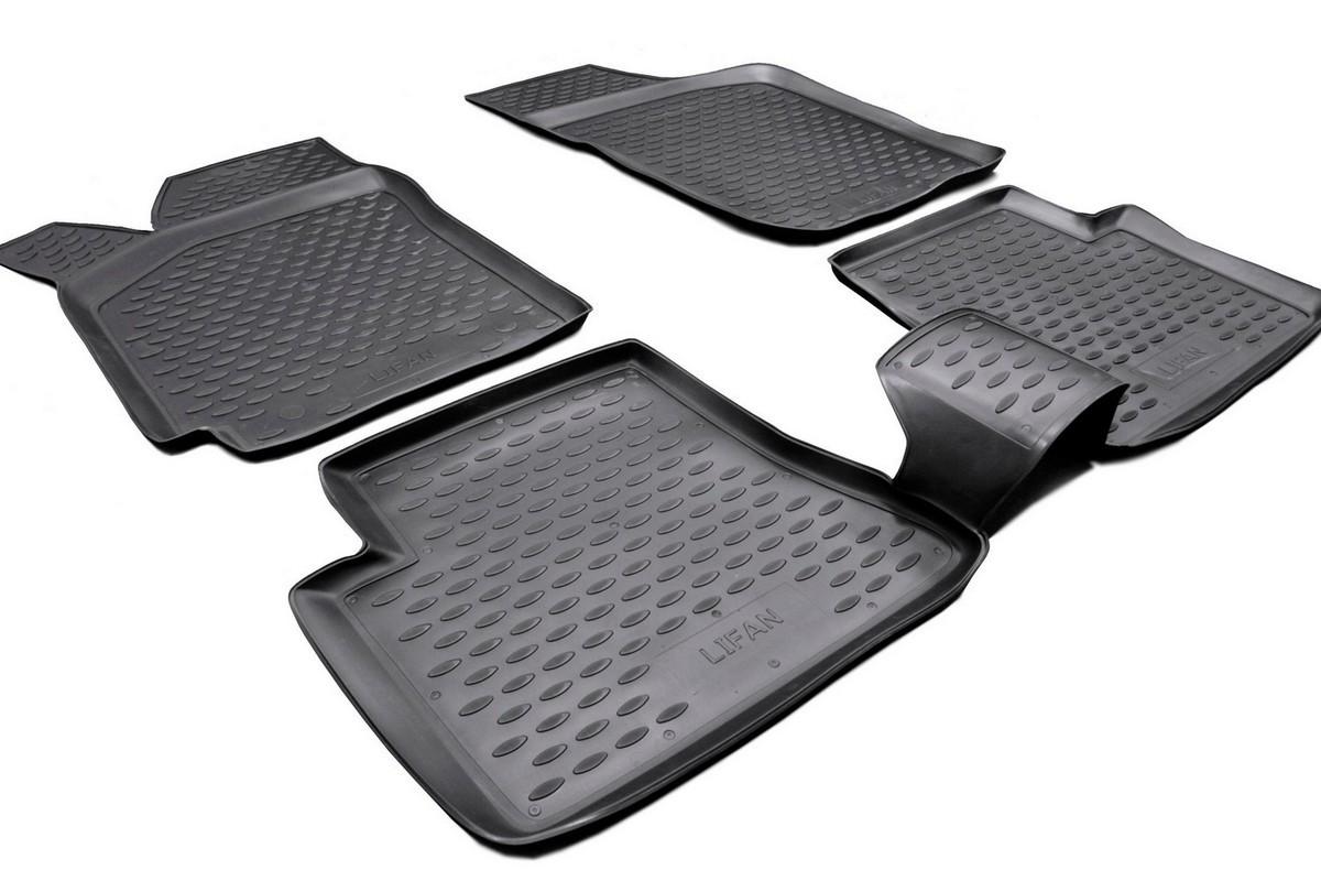Набор автомобильных ковриков Novline-Autofamily для Lifan Breez 2006-, в салон, 4 шт. NLC.73.01.210Ветерок 2ГФНабор автомобильных ковриков Novline-Autofamily, изготовленный из полиуретана, состоит из 4 ковриков, которые учитывают все особенности каждой модели автомобиля и полностью повторяют контуры пола. Полиуретановые автомобильные коврики для салона произведены из высококачественного материала, который держит форму, прочный и не пачкает обувь. Коврики в салон не только улучшат внешний вид салона вашего автомобиля, но и надежно уберегут его от пыли, грязи и сырости, а значит, защитят кузов от коррозии. Полиуретановые коврики для автомобиля гладкие, приятные и не пропускают влагу. Ковры для автомобилей надежно крепятся на полу и не скользят, что очень важно во время движения. Чистятся коврики очень просто: как при помощи автомобильного пылесоса, так и различными моющими средствами. Набор подходит для Lifan Breez с 2006 года выпуска.