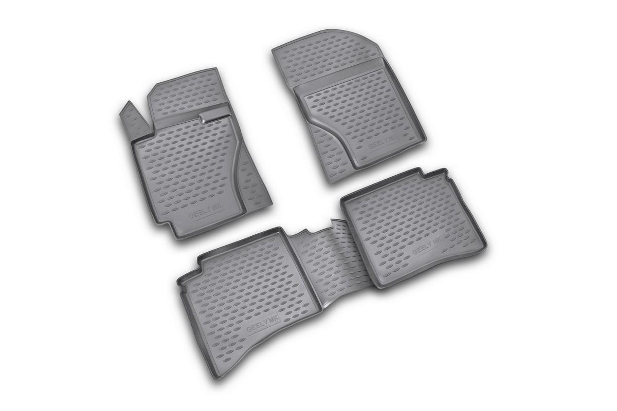 Набор автомобильных ковриков Novline-Autofamily для Geely MK 2006-2012, в салон, 4 шт. NLC.75.02.210kNLC.75.02.210kНабор автомобильных ковриков Novline-Autofamily, изготовленный из полиуретана, состоит из 4 ковриков, которые учитывают все особенности каждой модели автомобиля и полностью повторяют контуры пола. Полиуретановые автомобильные коврики для салона произведены из высококачественного материала, который держит форму, прочный и не пачкает обувь. Коврики в салон не только улучшат внешний вид салона вашего автомобиля, но и надежно уберегут его от пыли, грязи и сырости, а значит, защитят кузов от коррозии. Полиуретановые коврики для автомобиля гладкие, приятные и не пропускают влагу. Ковры для автомобилей надежно крепятся на полу и не скользят, что очень важно во время движения. Чистятся коврики очень просто: как при помощи автомобильного пылесоса, так и различными моющими средствами. Набор подходит для Geely MK 2006-2012 годов выпуска.