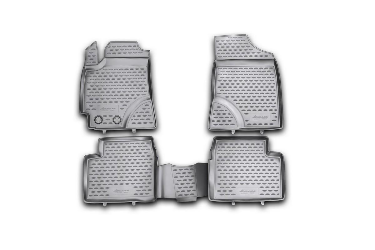 Набор автомобильных ковриков Novline-Autofamily для Geely Emgrand EC7/EC7 R 2011-, в салон, 4 штCA-3505Набор автомобильных ковриков Novline-Autofamily, изготовленный из полиуретана, состоит из 4 ковриков, которые учитывают все особенности каждой модели автомобиля и полностью повторяют контуры пола. Полиуретановые автомобильные коврики для салона произведены из высококачественного материала, который держит форму, прочный и не пачкает обувь. Коврики в салон не только улучшат внешний вид салона вашего автомобиля, но и надежно уберегут его от пыли, грязи и сырости, а значит, защитят кузов от коррозии. Полиуретановые коврики для автомобиля гладкие, приятные и не пропускают влагу. Ковры для автомобилей надежно крепятся на полу и не скользят, что очень важно во время движения. Чистятся коврики очень просто: как при помощи автомобильного пылесоса, так и различными моющими средствами. Набор подходит для Geely Emgrand EC7, EC7 R с 2011 года выпуска.
