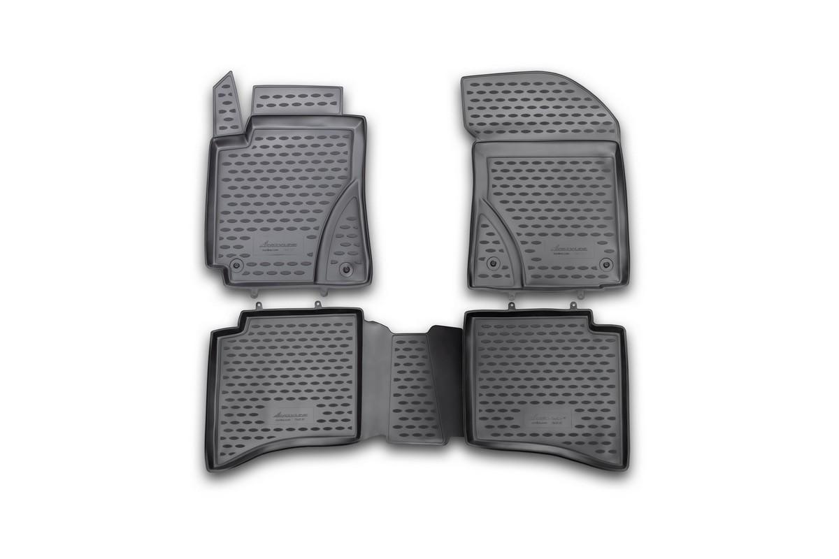 Набор автомобильных ковриков Novline-Autofamily для Geely MK Cross 2012-, в салон, 4 штВетерок 2ГФНабор автомобильных ковриков Novline-Autofamily, изготовленный из полиуретана, состоит из 4 ковриков, которые учитывают все особенности каждой модели автомобиля и полностью повторяют контуры пола. Полиуретановые автомобильные коврики для салона произведены из высококачественного материала, который держит форму, прочный и не пачкает обувь. Коврики в салон не только улучшат внешний вид салона вашего автомобиля, но и надежно уберегут его от пыли, грязи и сырости, а значит, защитят кузов от коррозии. Полиуретановые коврики для автомобиля гладкие, приятные и не пропускают влагу. Ковры для автомобилей надежно крепятся на полу и не скользят, что очень важно во время движения. Чистятся коврики очень просто: как при помощи автомобильного пылесоса, так и различными моющими средствами. Набор подходит для Geely MK Cross с 2012 года выпуска.